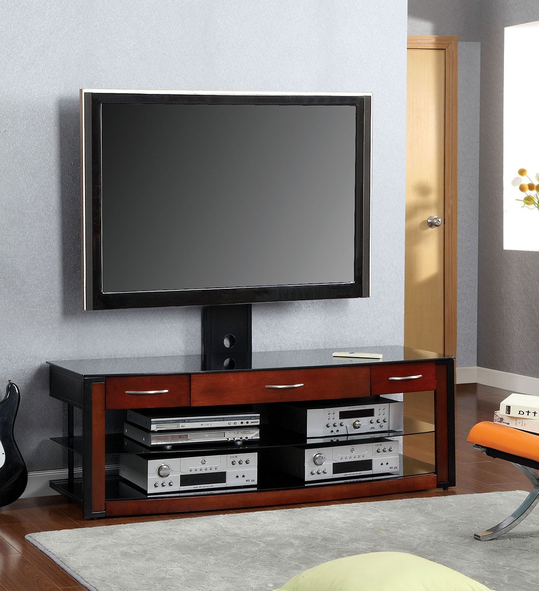 Rectangular Tv Stands Regarding Fashionable Rectangular Wooden Tv Stand With Mount And Glass Shelves For (Gallery 15 of 20)