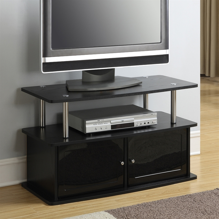Rectangular Tv Stands With Regard To Favorite Convenience Concepts Designs2Go Black Pedestal Tv Stand At Lowes (View 16 of 20)