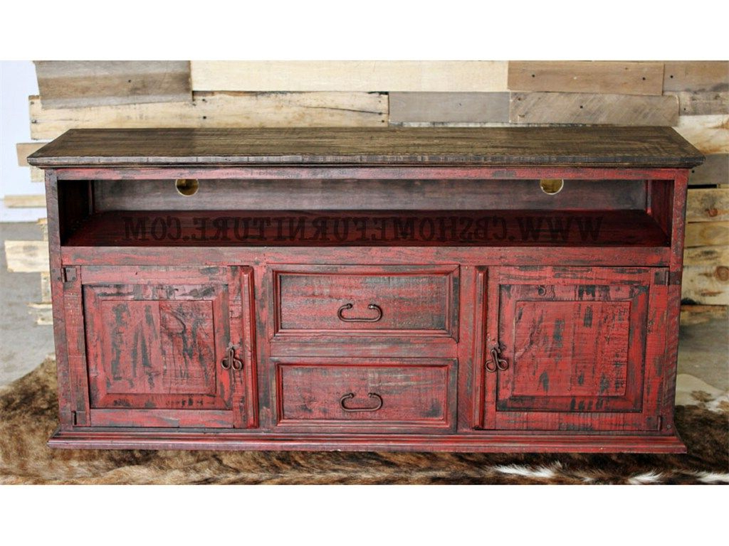 Red Distressed Furniture With Well Known Rustic Red Tv Stands (View 2 of 20)