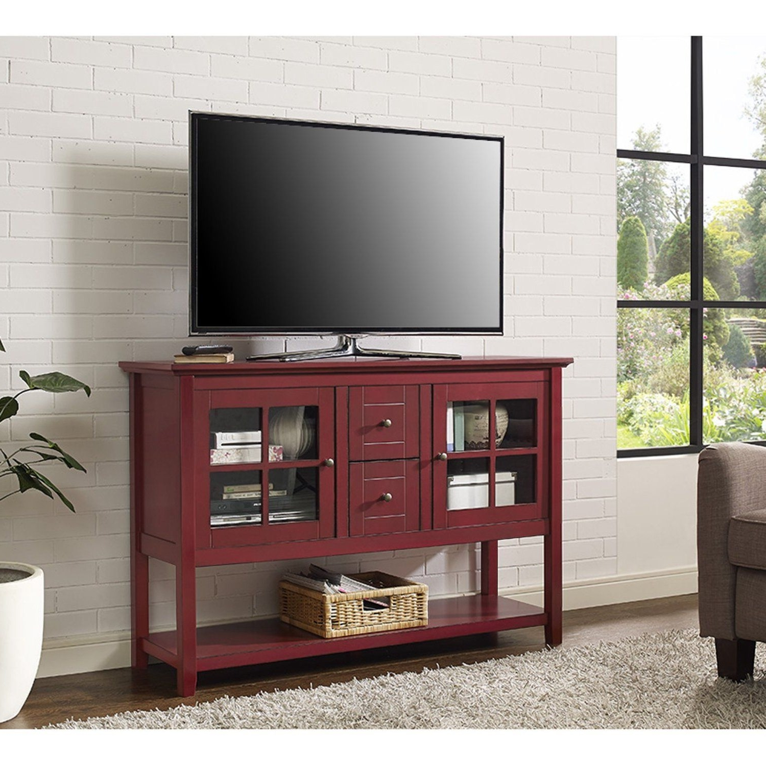 "Red Tv Stands Throughout Recent Red Tv Stand 55"" Wood & Glass Media Console Cabinet Table Furniture (Gallery 8 of 20)"