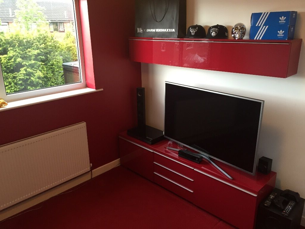 Red Tv Units In Widely Used Ikea High Gloss Tv Unit And Wall Unit (High Gloss Red) (View 3 of 20)