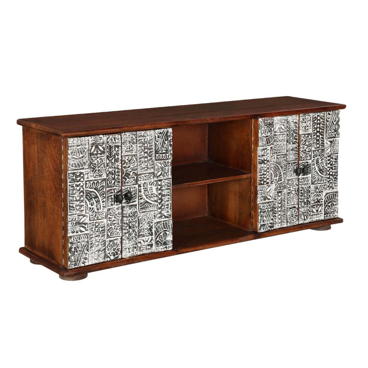 Riviera Rustic Mango Wood Tv Stand With Cabinet Shelves Regarding Newest Mango Wood Tv Cabinets (View 15 of 20)