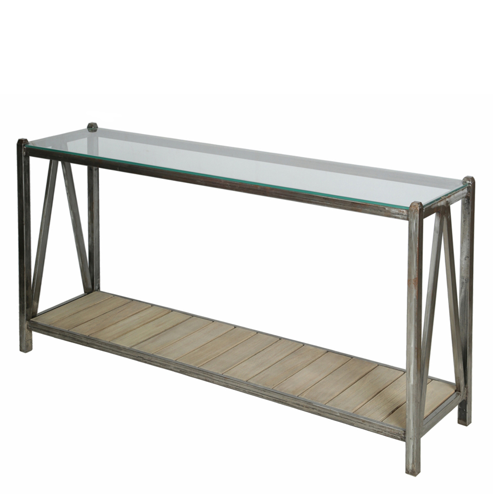 Roman Metal Top Console Tables For Most Recently Released Console Metal Top Glass Rome – Domicil Living (View 15 of 20)