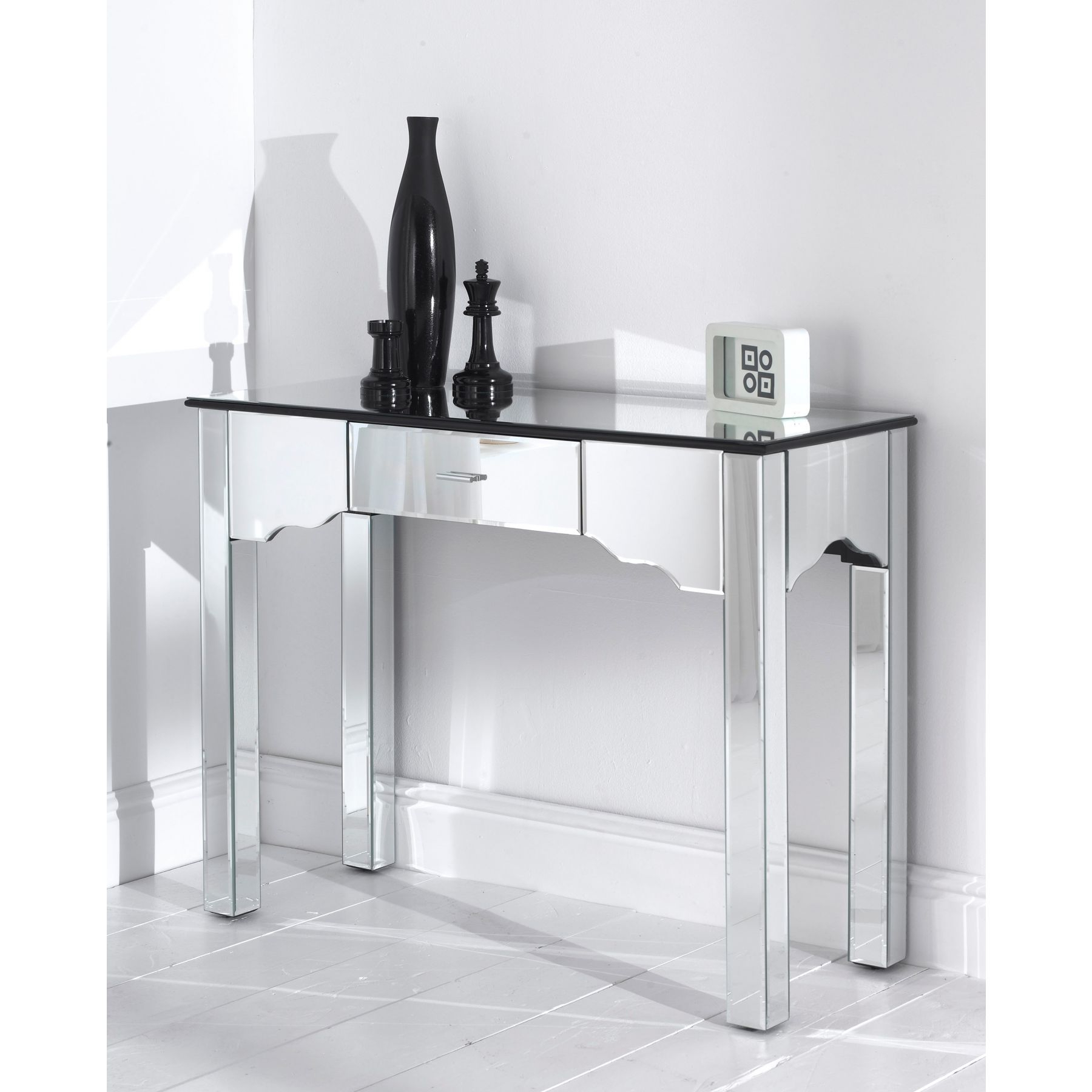 Roman Metal Top Console Tables Inside Well Liked Mirrored Romano Console Table (View 16 of 20)