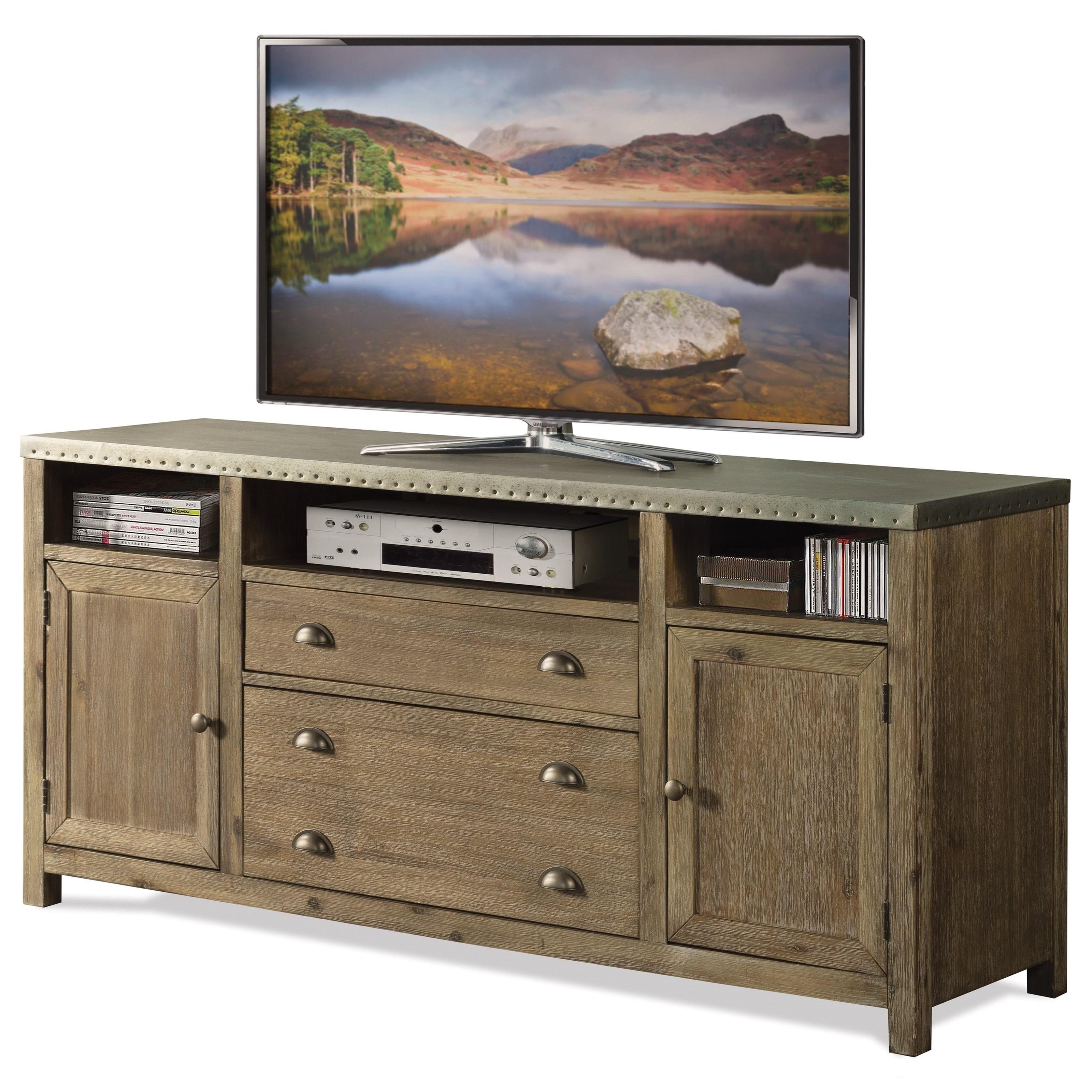 Rowan 64 Inch Tv Stands With Regard To Well Known Riverside Furniture Liam 71142 Industrial 64 Inch Tv Console With (View 12 of 20)