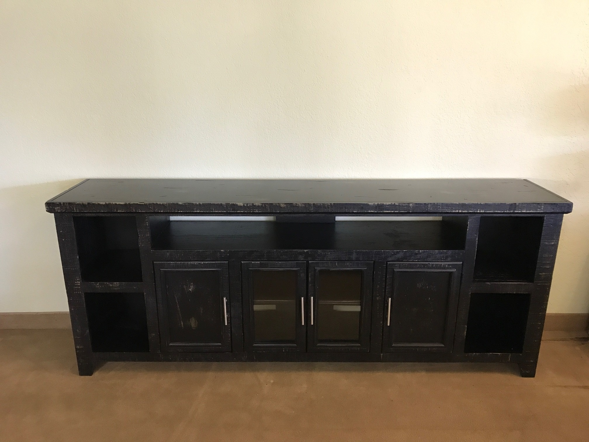 Rustic Black Large Long Tv Stand Solid Wood Entertainment Center In Favorite Solid Wood Black Tv Stands (View 8 of 20)