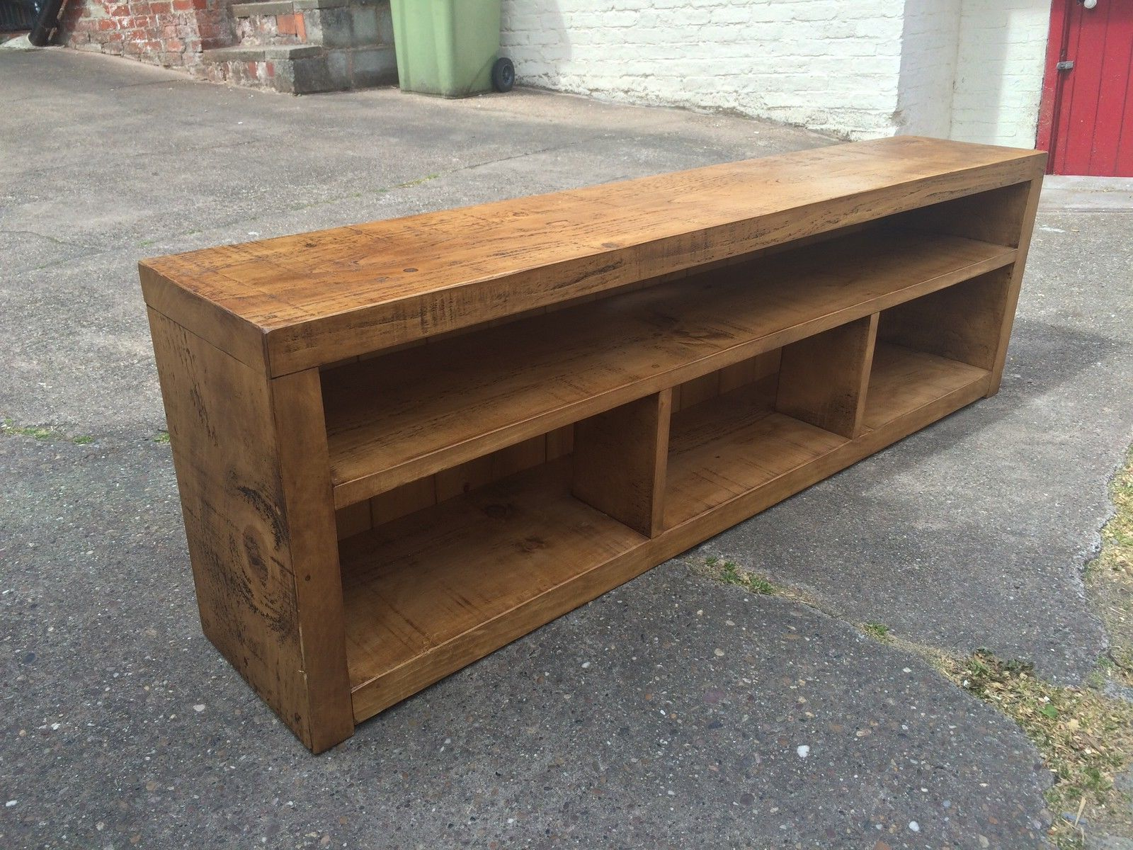 Rustic Chunky Plank Tv Stand Entertainment Media Unit Solid Regarding Most Up To Date Chunky Tv Cabinets (View 16 of 20)