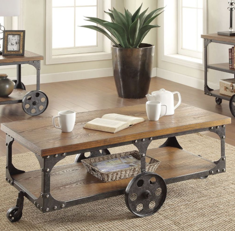 Rustic Coffee Table And Tv Stand Pertaining To Most Popular Rustic Industrial Wood Coffee Table Utility Cart Condo Loft Storage (View 13 of 20)