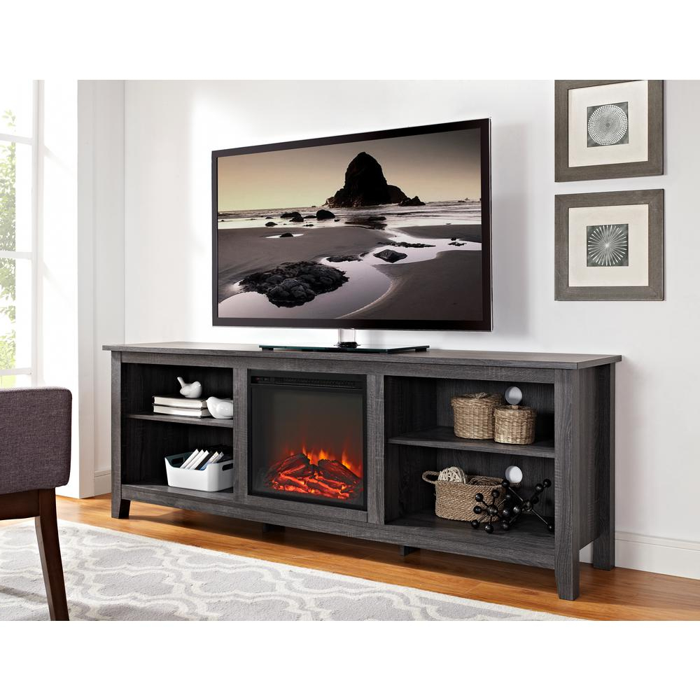 Rustic – Electric Fireplaces – Fireplaces – The Home Depot With Regard To Popular French Country Tv Stands (View 14 of 20)