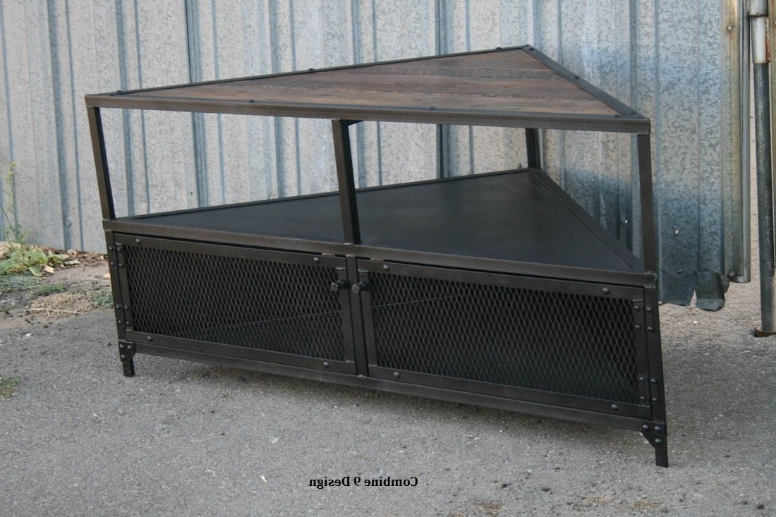 Rustic Metal Tv Stand Media Wood Buy A Handmade Corner Unit Vintage Pertaining To Preferred Reclaimed Wood And Metal Tv Stands (View 14 of 20)