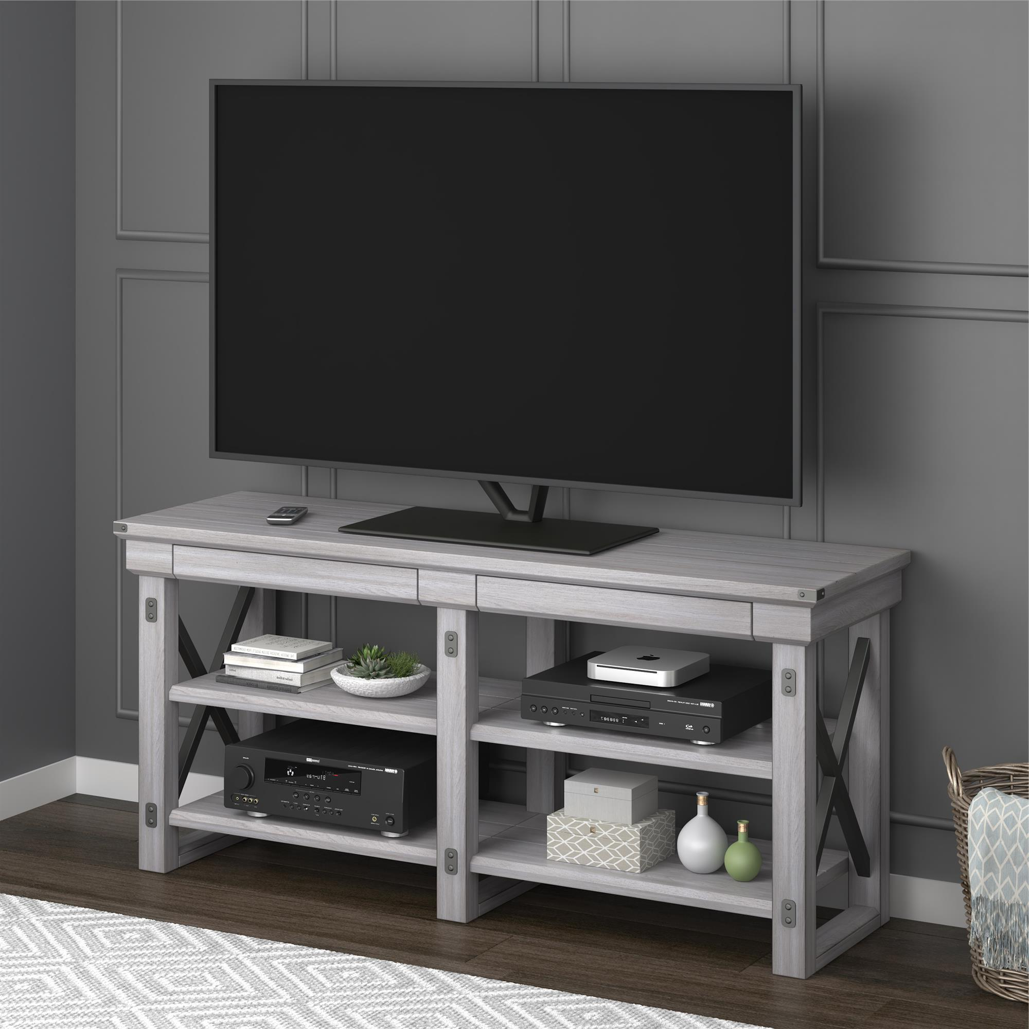 Rustic White Tv Stands In Most Current Shop Avenue Greene Woodgate Rustic White Tv Stand For Up To 65 Inch (View 14 of 20)