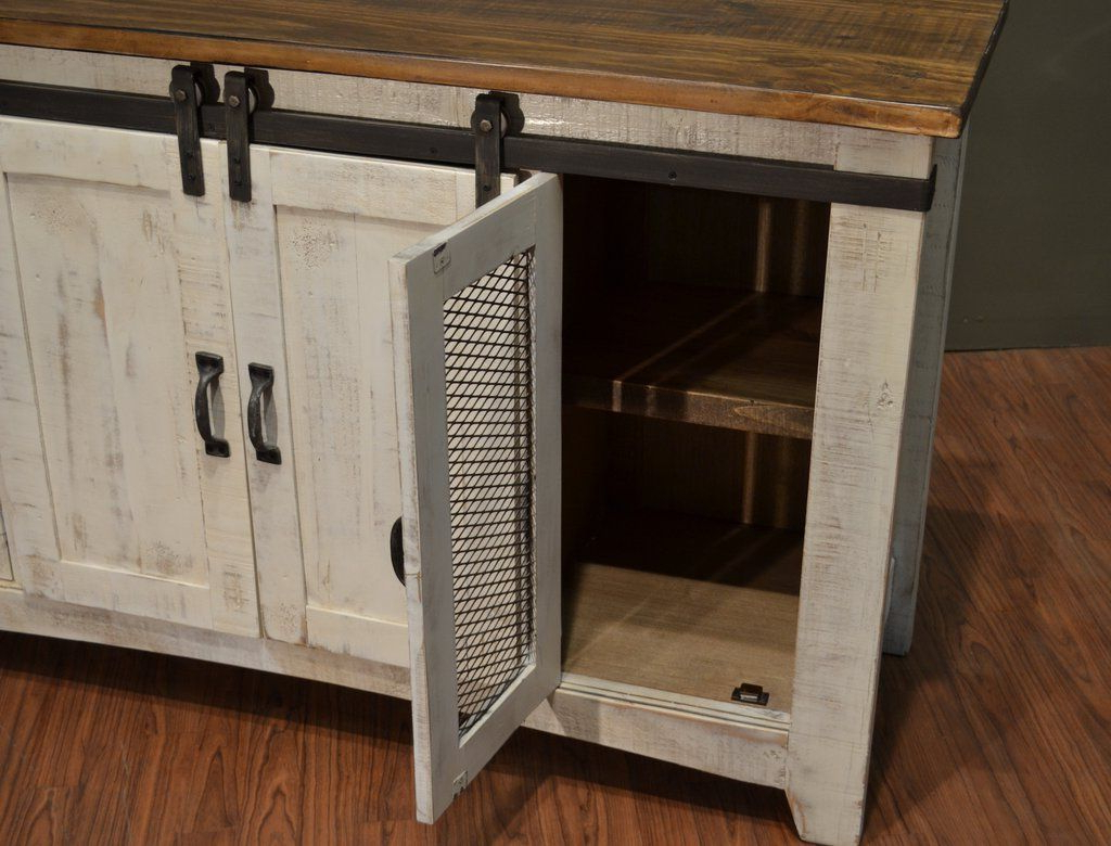 "Rustic White Tv Stands Regarding Fashionable Greenview Sliding Door Distressed White Tv Stand – 60"" (Gallery 5 of 20)"
