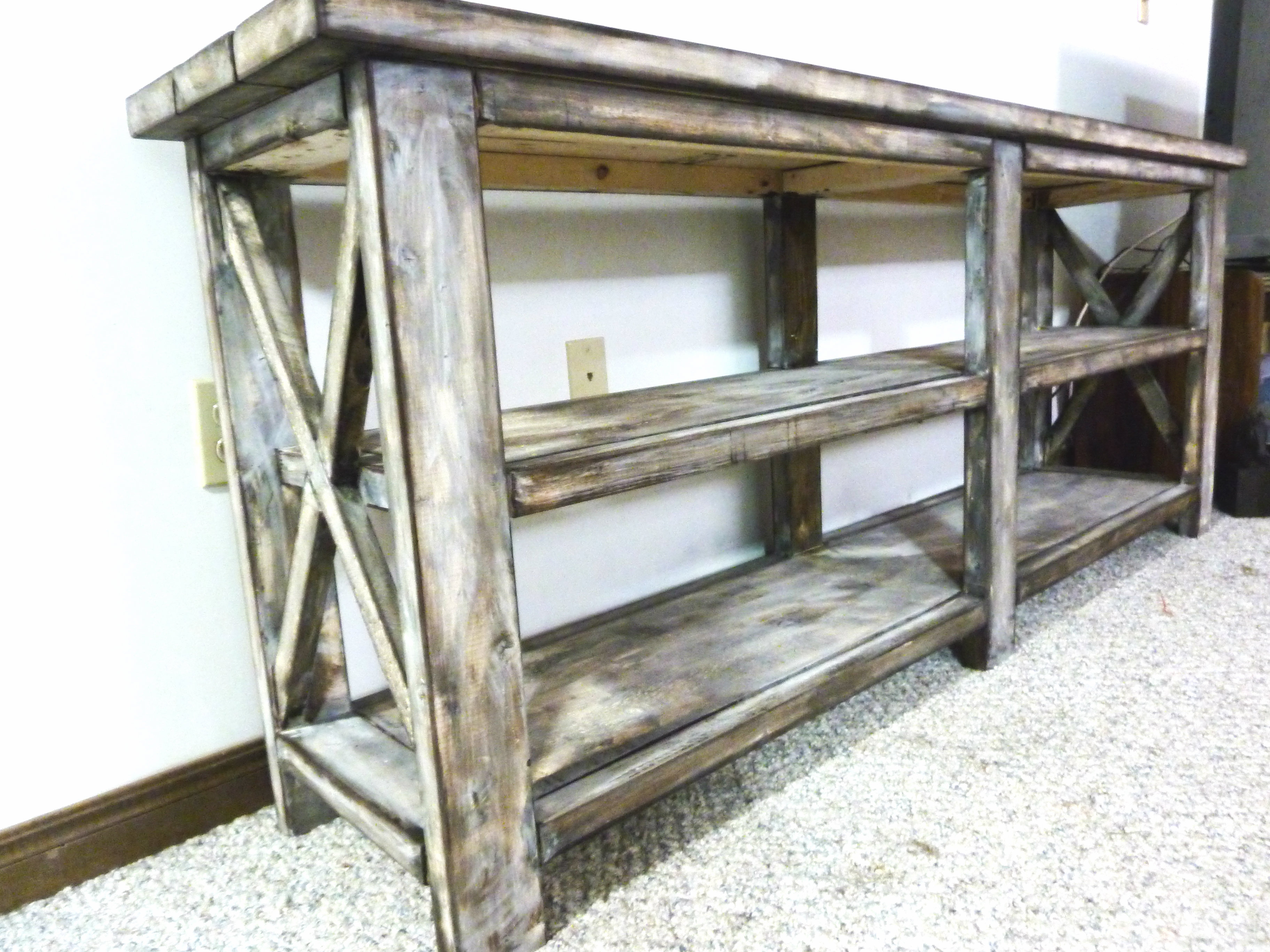 Rustic White Tv Stands Throughout Fashionable Ana White (View 16 of 20)