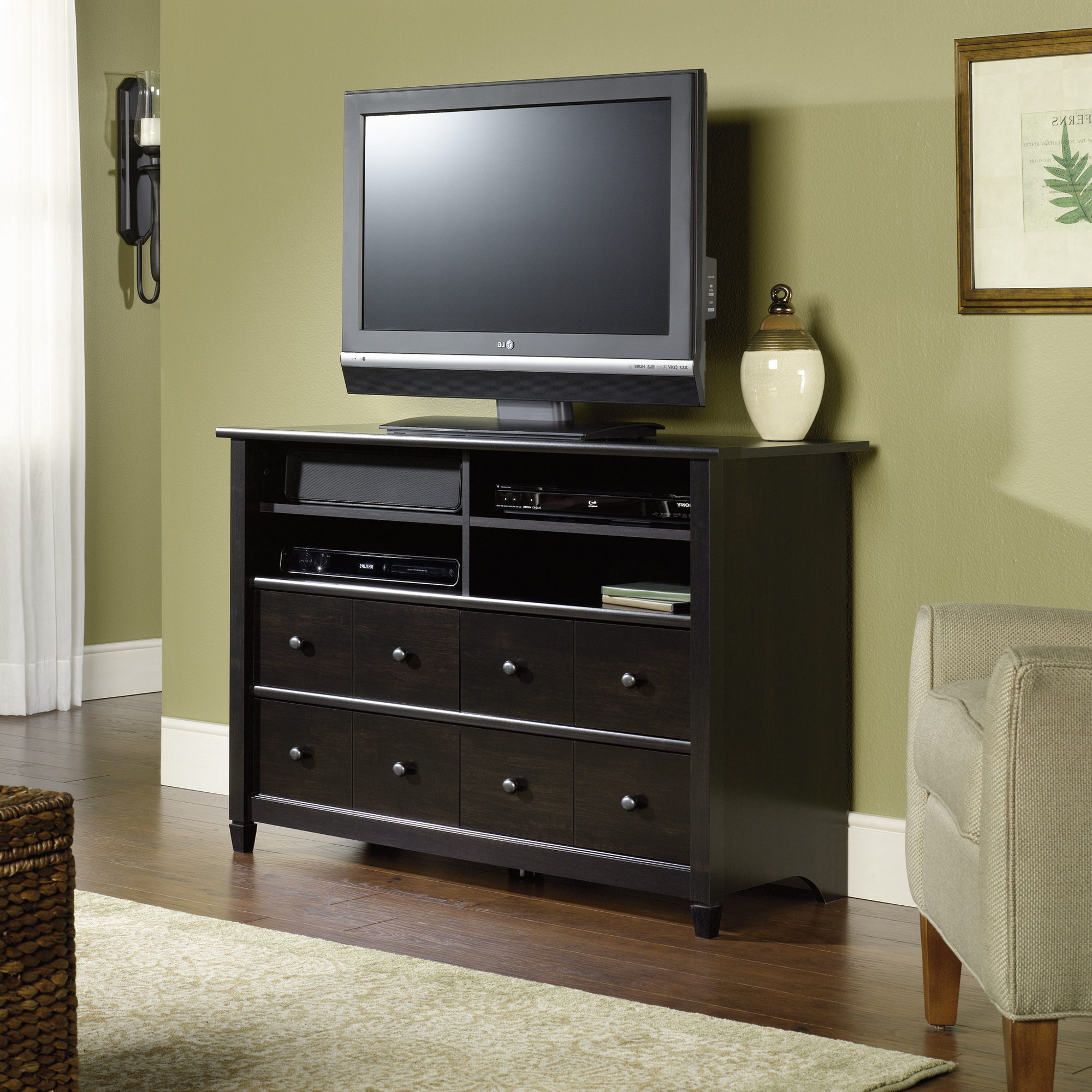 Sauder For Tall Black Tv Cabinets (Gallery 8 of 20)