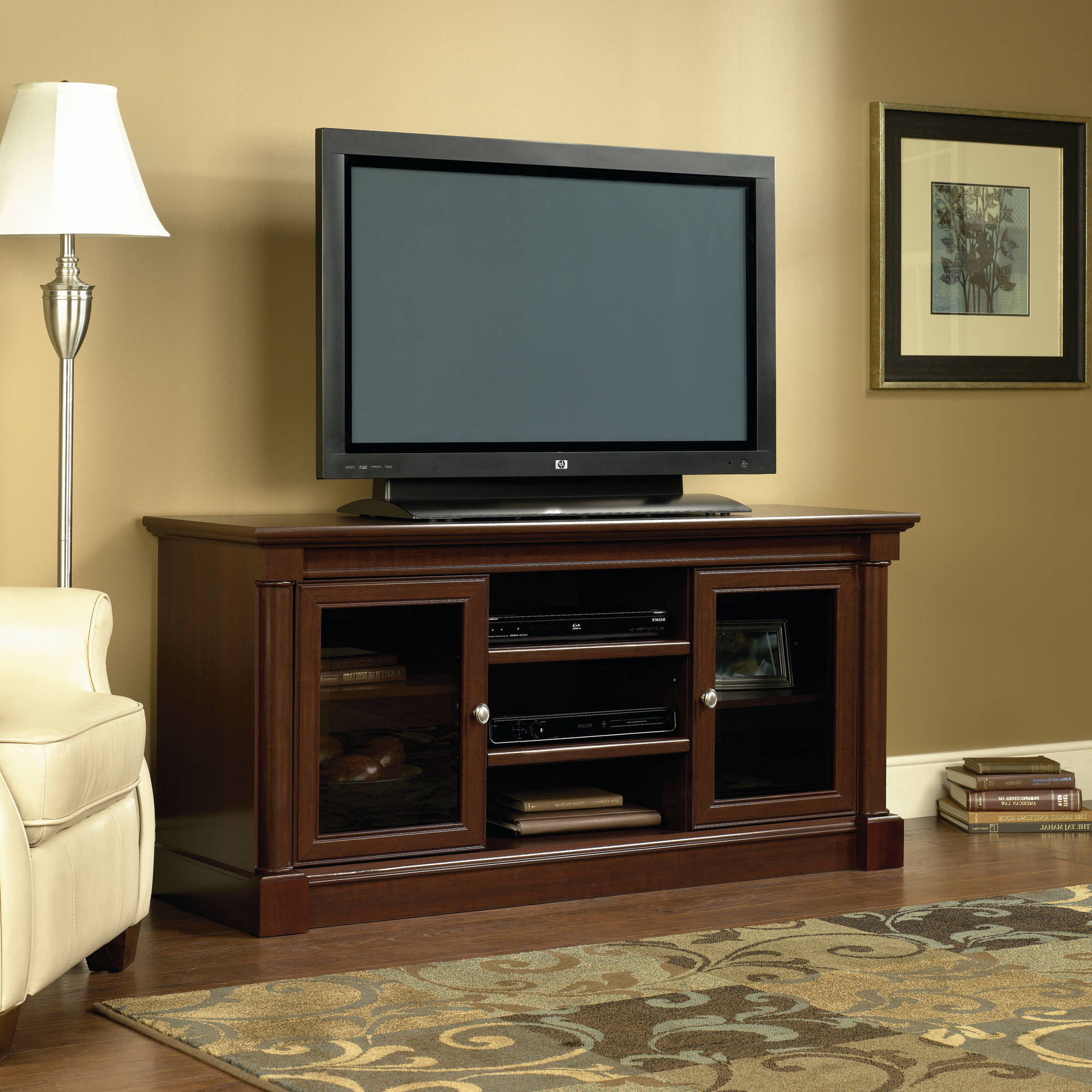 """Sauder Palladia Entertainment Credenza For Tvs Up To 59"""", Cherry With Regard To Preferred Cherry Tv Stands (Gallery 16 of 20)"""