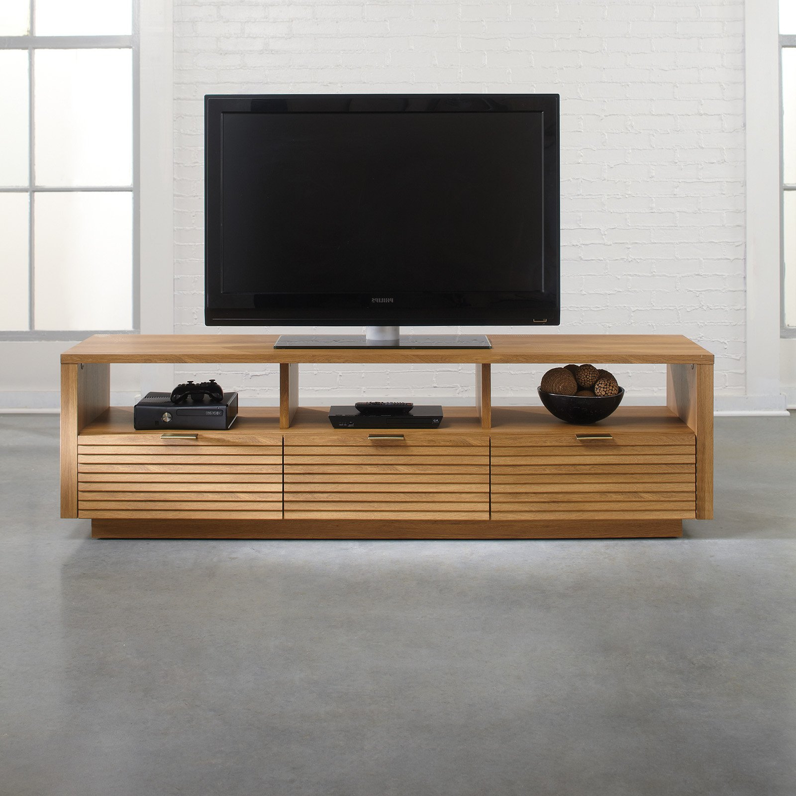 Sauder Soft Modern Entertainment Credenza – Pale Oak – Walmart For Most Recent Modern Low Profile Tv Stands (Gallery 6 of 20)