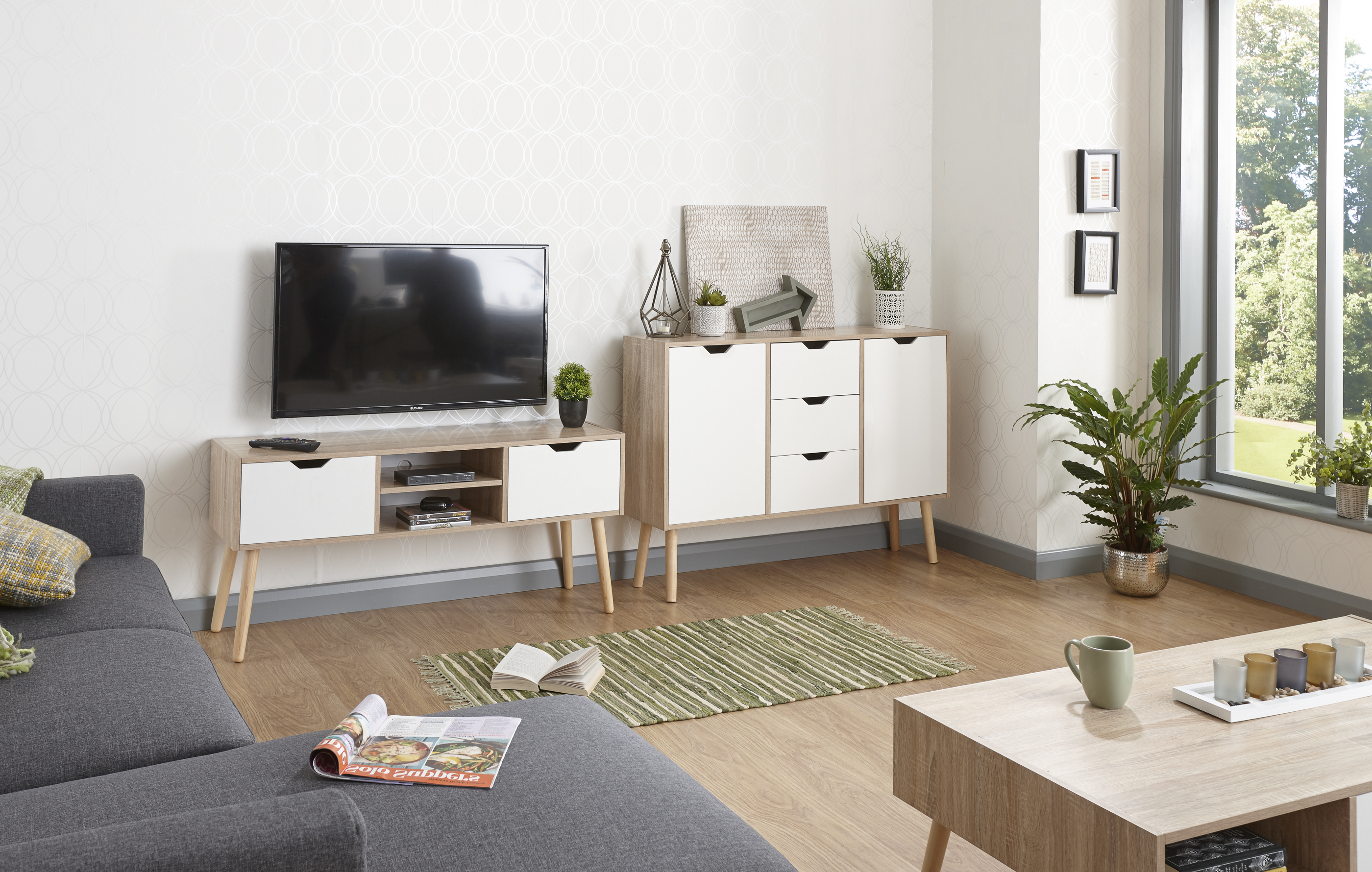 Scandinavian Design Tv Cabinets With Trendy Stockholm White & Oak Living Room Range – Sideboard, Coffee Table (View 18 of 20)