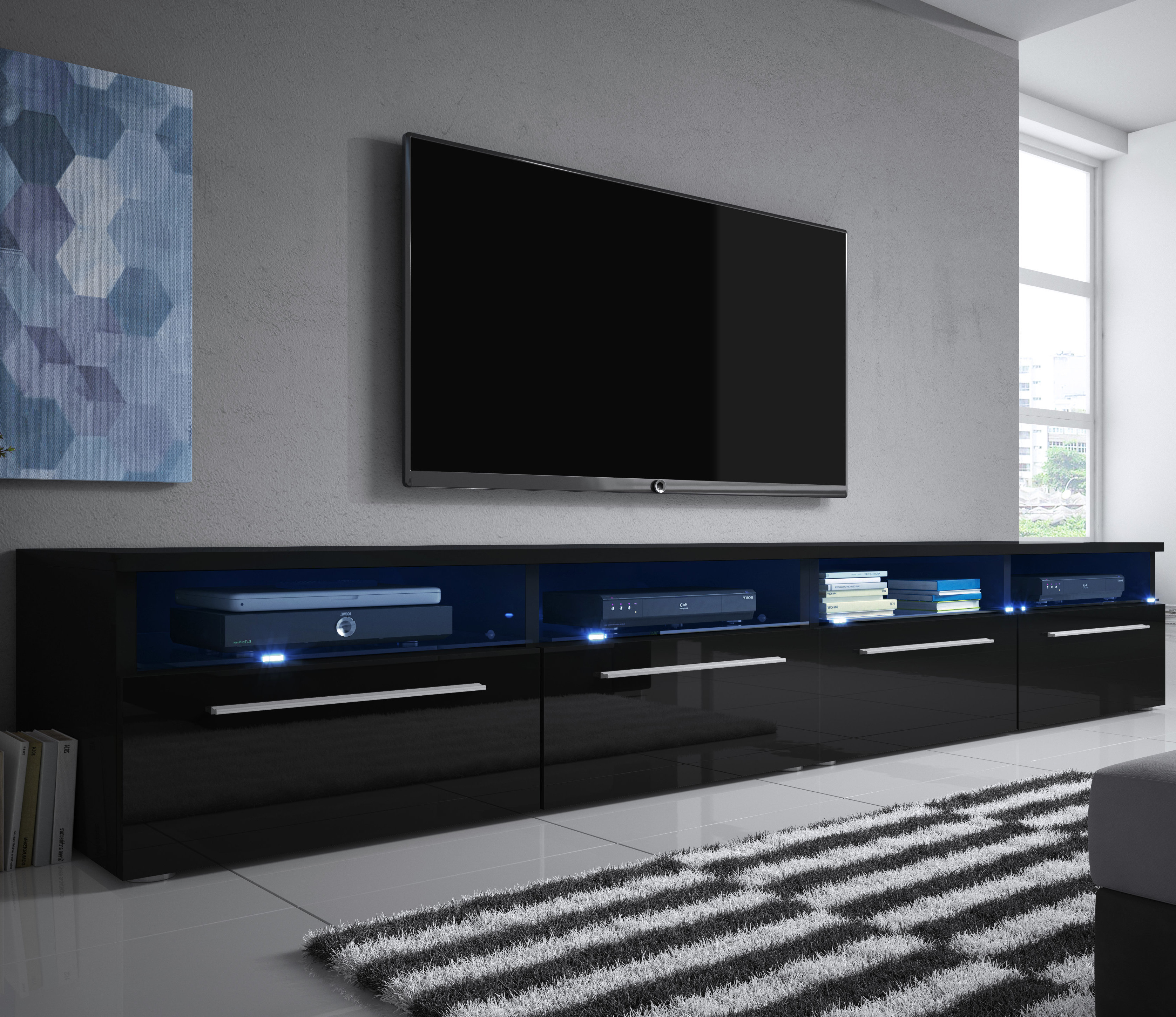 """Selsey Living Siena Double Tv Stand For Tvs Up To 70"""" & Reviews Pertaining To Most Recent Double Tv Stands (Gallery 10 of 20)"""