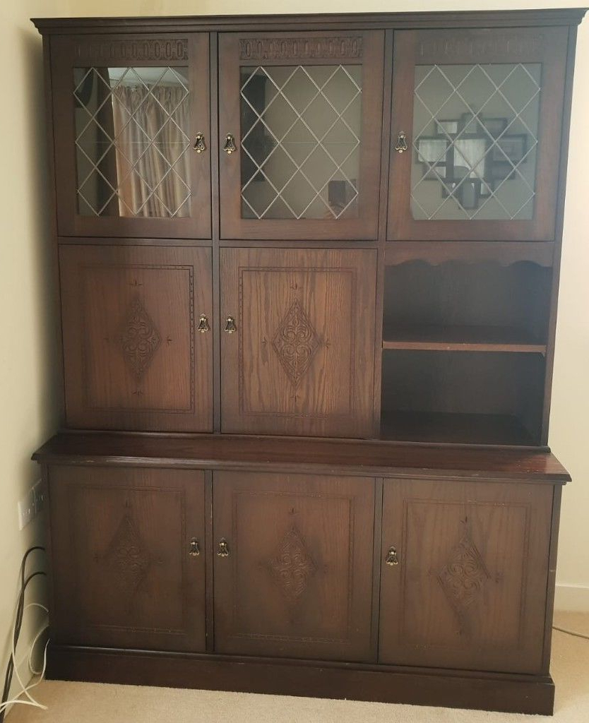 Set New Plan Dark Oak Display Cabinet, Corner Unit, Wall Mounted Throughout Current Wall Display Units And Tv Cabinets (View 11 of 20)