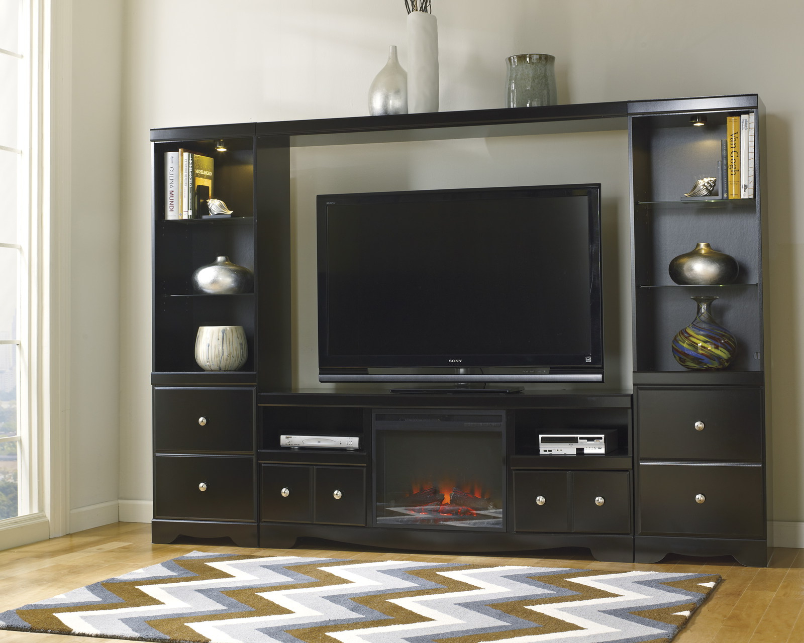 Shay Large Entertainment Unit With Tv Stand W/ Fireplace Insert Throughout Well Liked Large Black Tv Unit (Gallery 5 of 20)