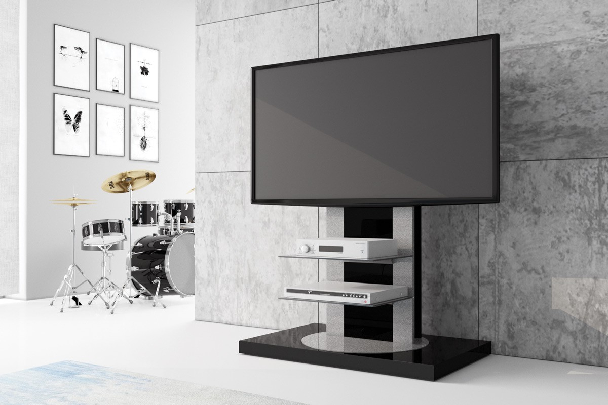 Shiny Black Tv Stands Inside 2018 Hancock Mounted Black High Gloss Modern Tv Stand (View 4 of 20)
