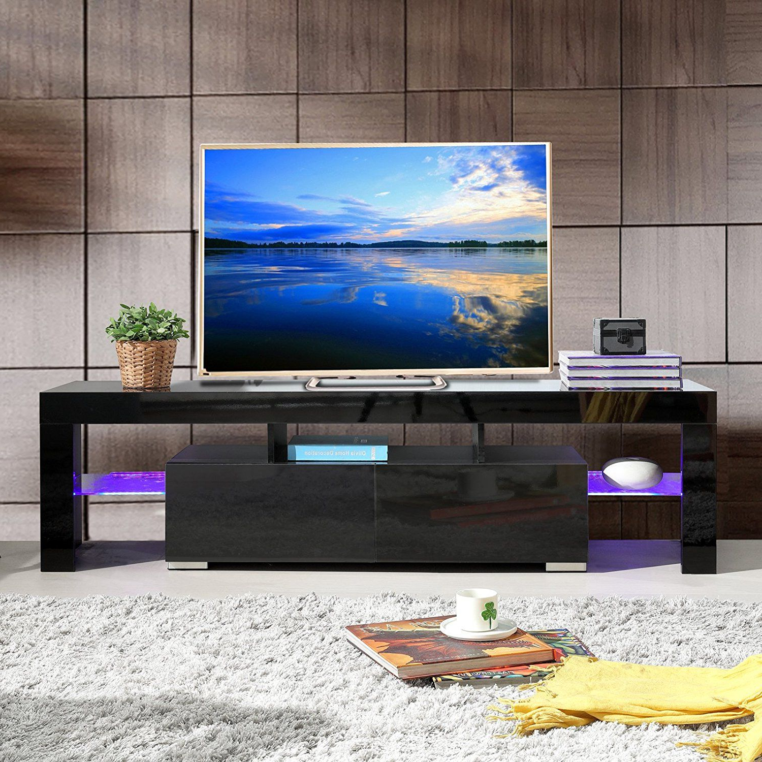 Shiny Black Tv Stands Inside Most Popular Amazon: High Gloss Black Tv Stand Unit Cabinet W/led Shelves (View 15 of 20)
