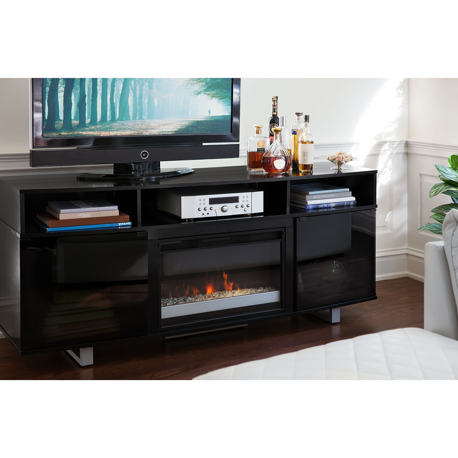 Shiny Black Tv Stands Throughout Most Popular Tv Stands (View 12 of 20)