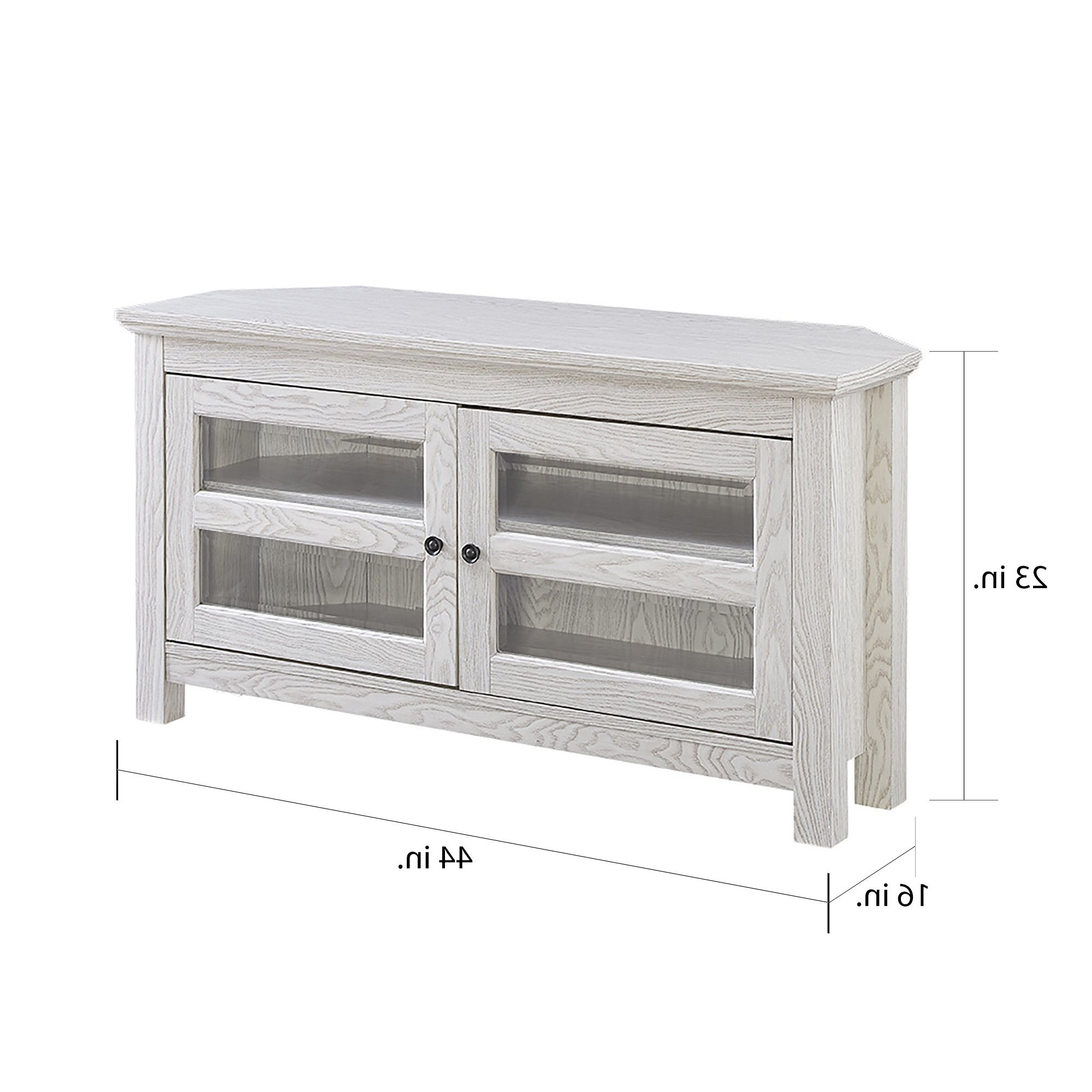 "Shop 44"" Corner Tv Stand Console – White Wash – 44 X 16 X 23H – Free With Well Known White Wood Corner Tv Stands (View 14 of 20)"