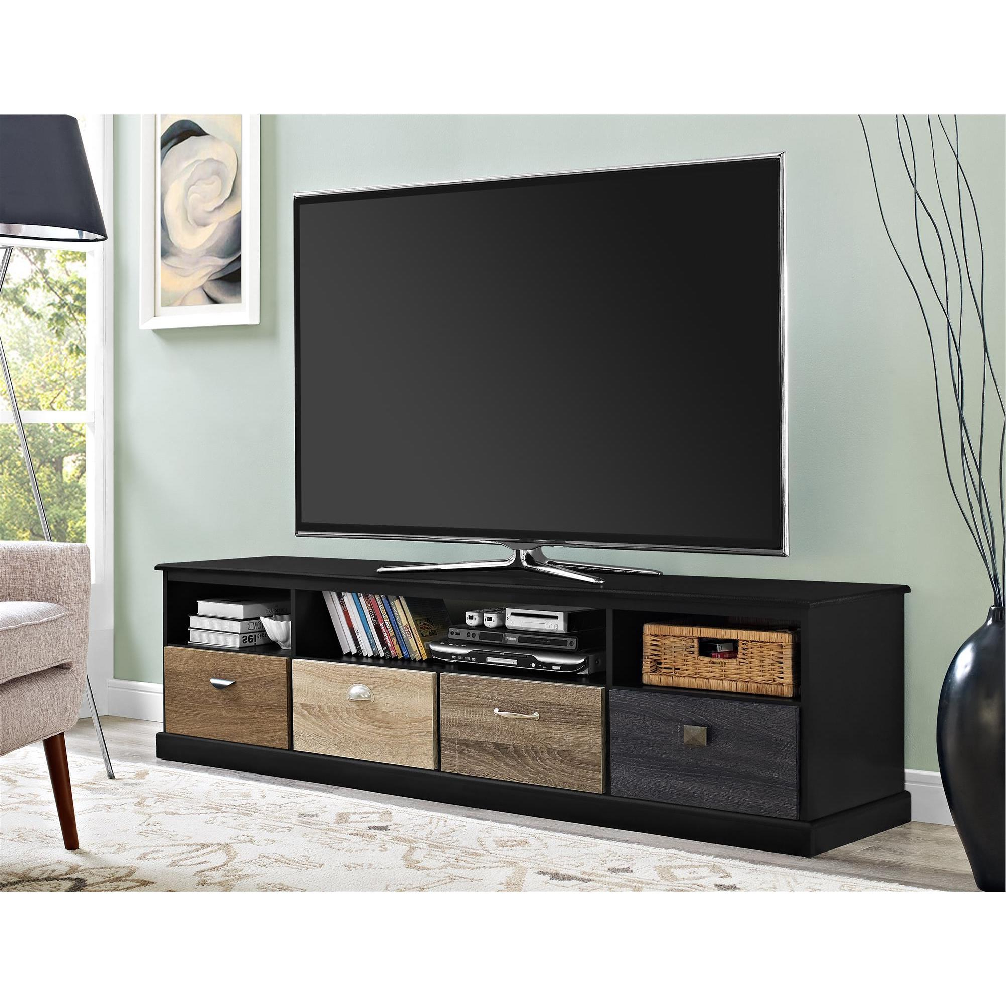Shop Avenue Greene Mercer 65 Inch Black Tv Console With Multicolored In Most Current Kilian Grey 49 Inch Tv Stands (Gallery 10 of 20)