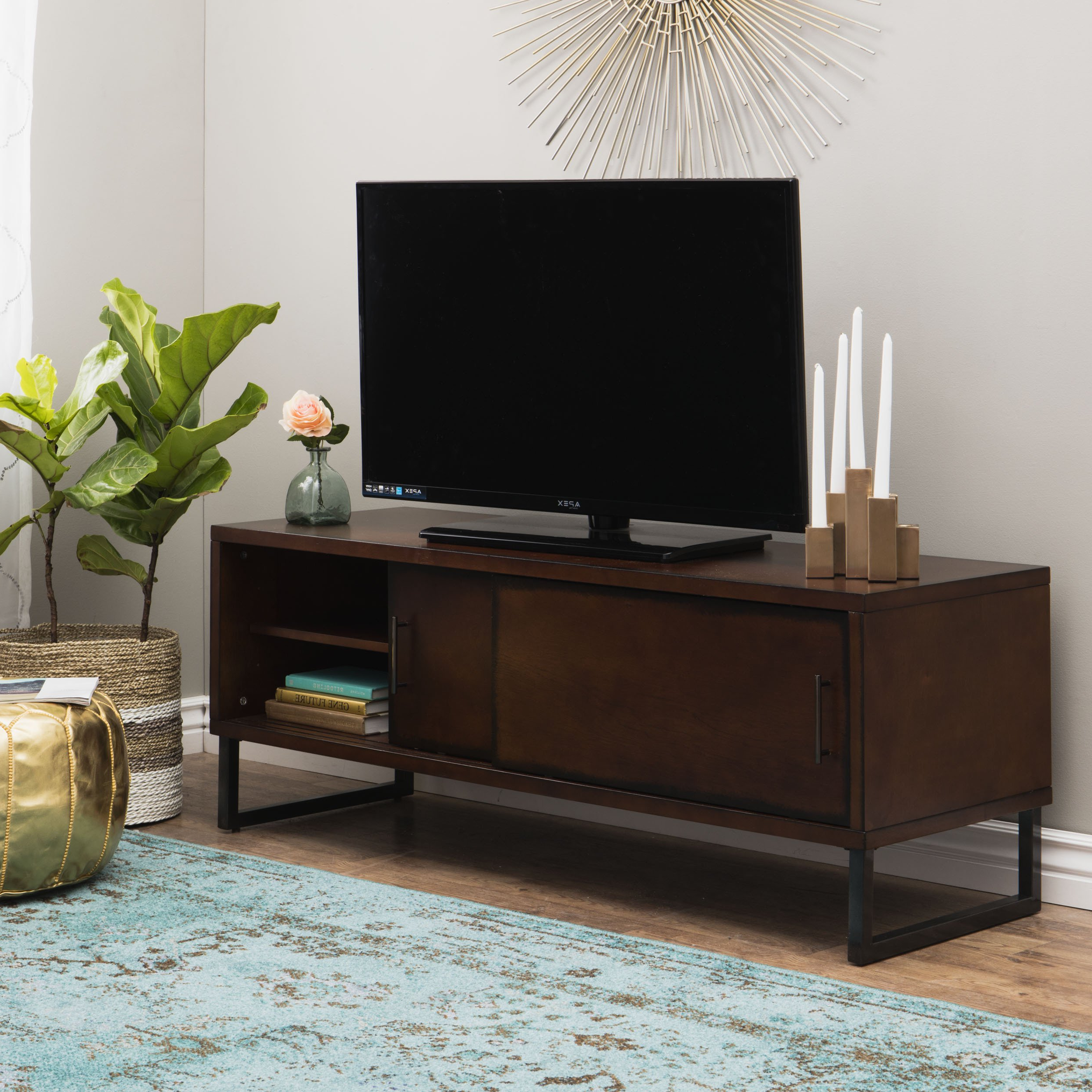 Shop Carbon Loft 54 Inch Breckenridge Walnut Entertainment Center With Regard To 2017 Rowan 74 Inch Tv Stands (View 13 of 20)