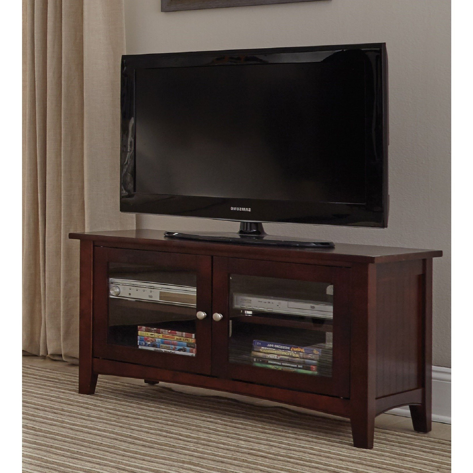 Shop Copper Grove Taber 36 Inch Wood Tv Stand With Glass Doors Regarding Newest Laurent 70 Inch Tv Stands (Gallery 14 of 20)