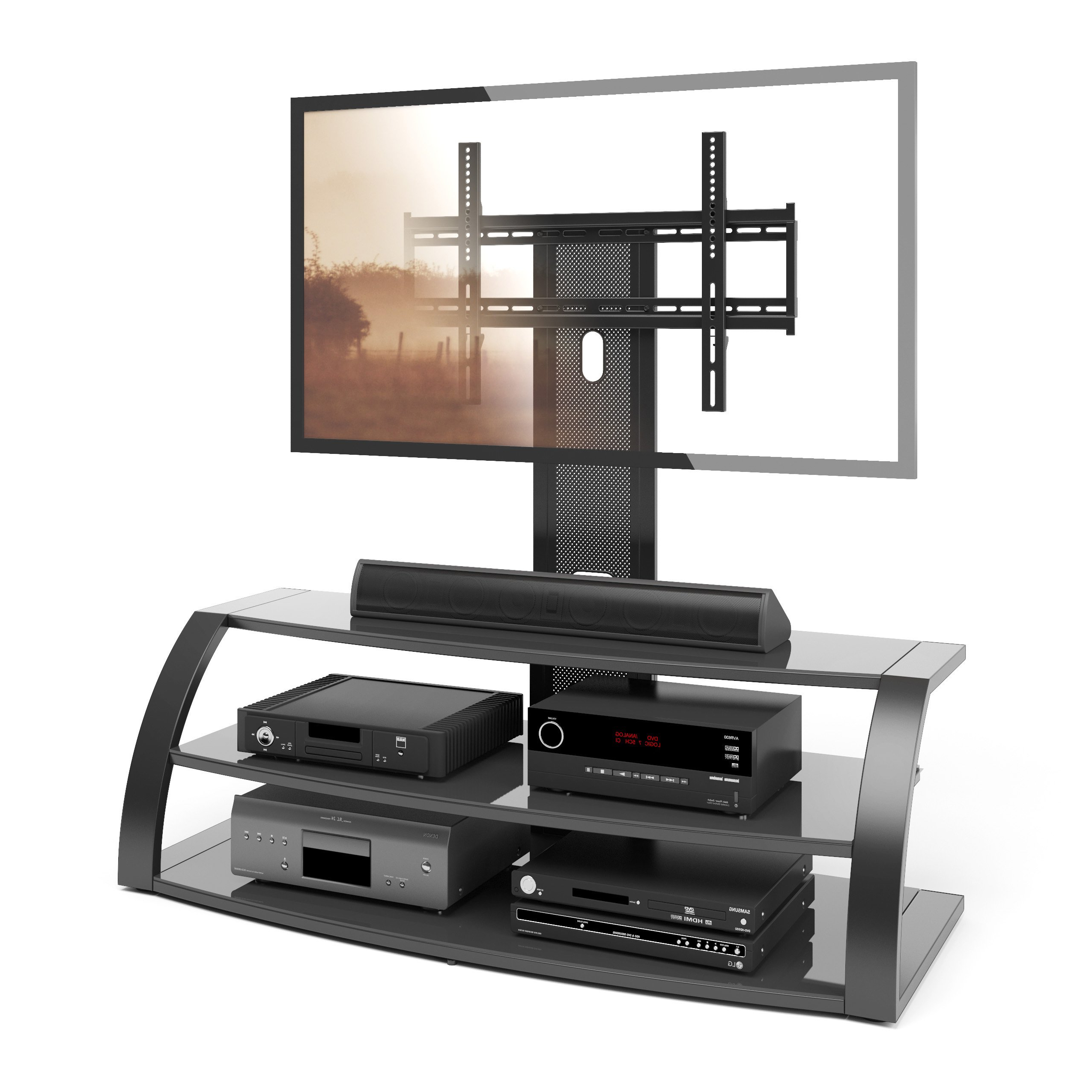 Shop Corliving Malibu Tv Stand With Mount And Black Metal Uprights Inside Famous Upright Tv Stands (Gallery 16 of 20)