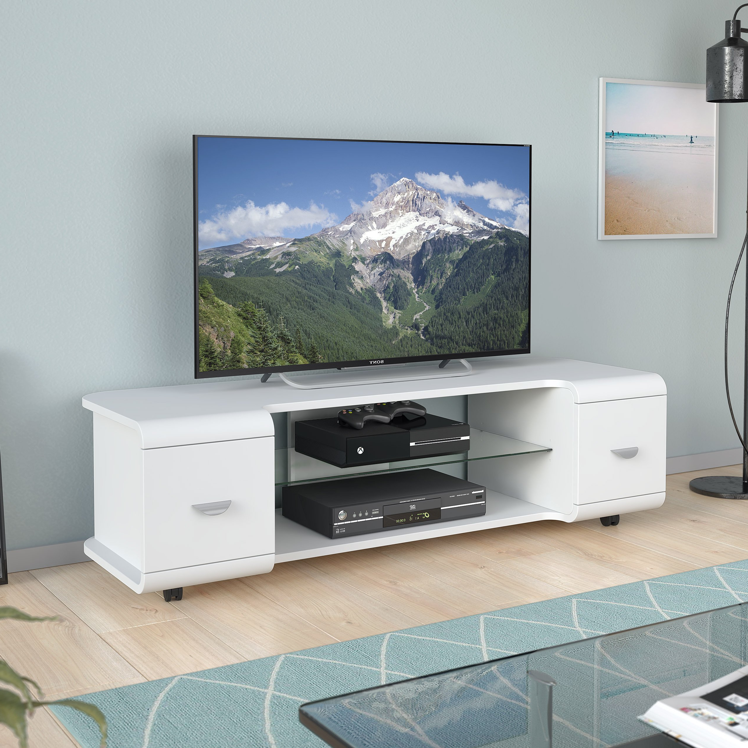 Shop Corliving Panorama Tv Stand With Casters, For Tvs Up To 65 Intended For Favorite Panorama Tv Stands (View 15 of 20)