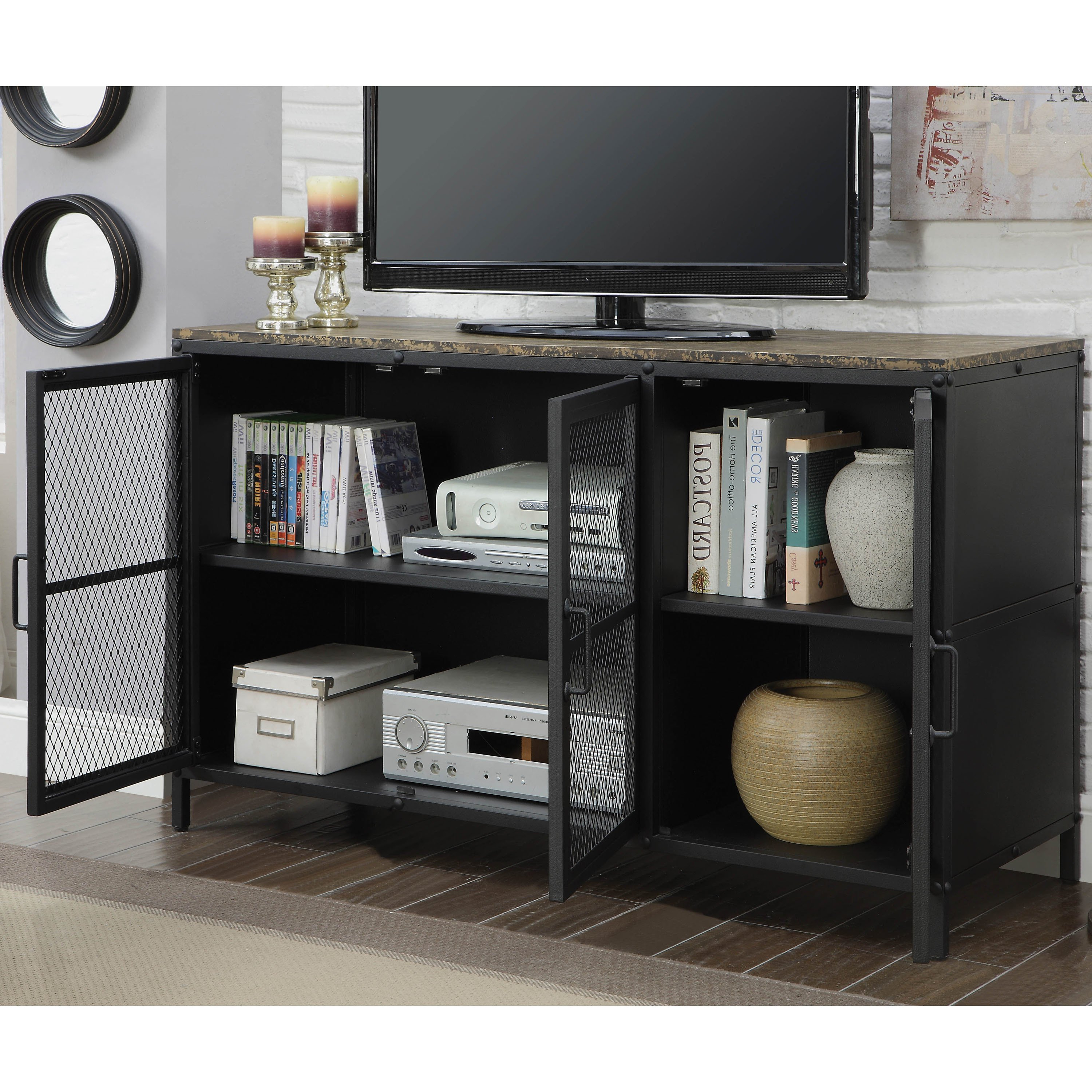 Shop Furniture Of America Niota Industrial Style Metal Grate Tv With Regard To 2018 Industrial Style Tv Stands (Gallery 18 of 20)