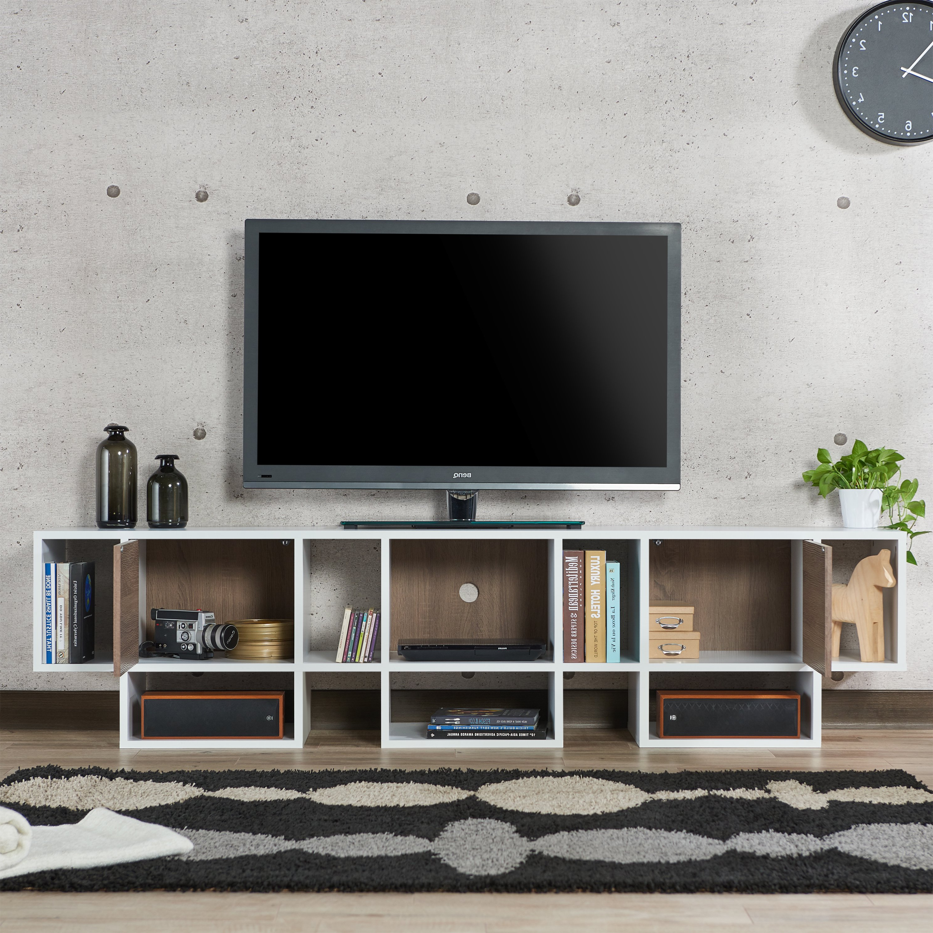 Shop Furniture Of America Veruca Contemporary Two Tone White Throughout Famous Noah Rustic White 66 Inch Tv Stands (View 20 of 20)