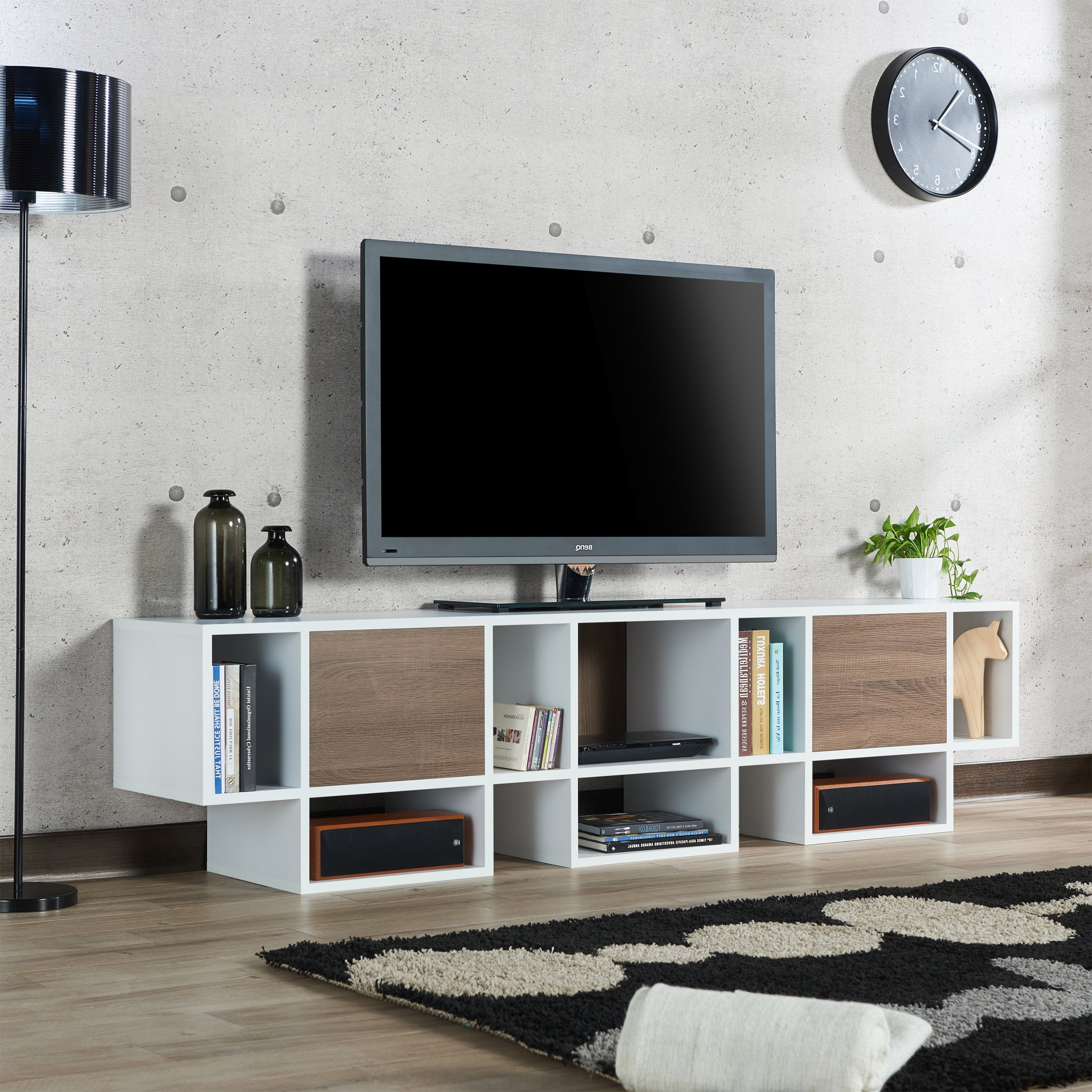 Shop Furniture Of America Veruca Contemporary Two Tone White Throughout Most Recent Noah Rustic White 66 Inch Tv Stands (View 5 of 20)