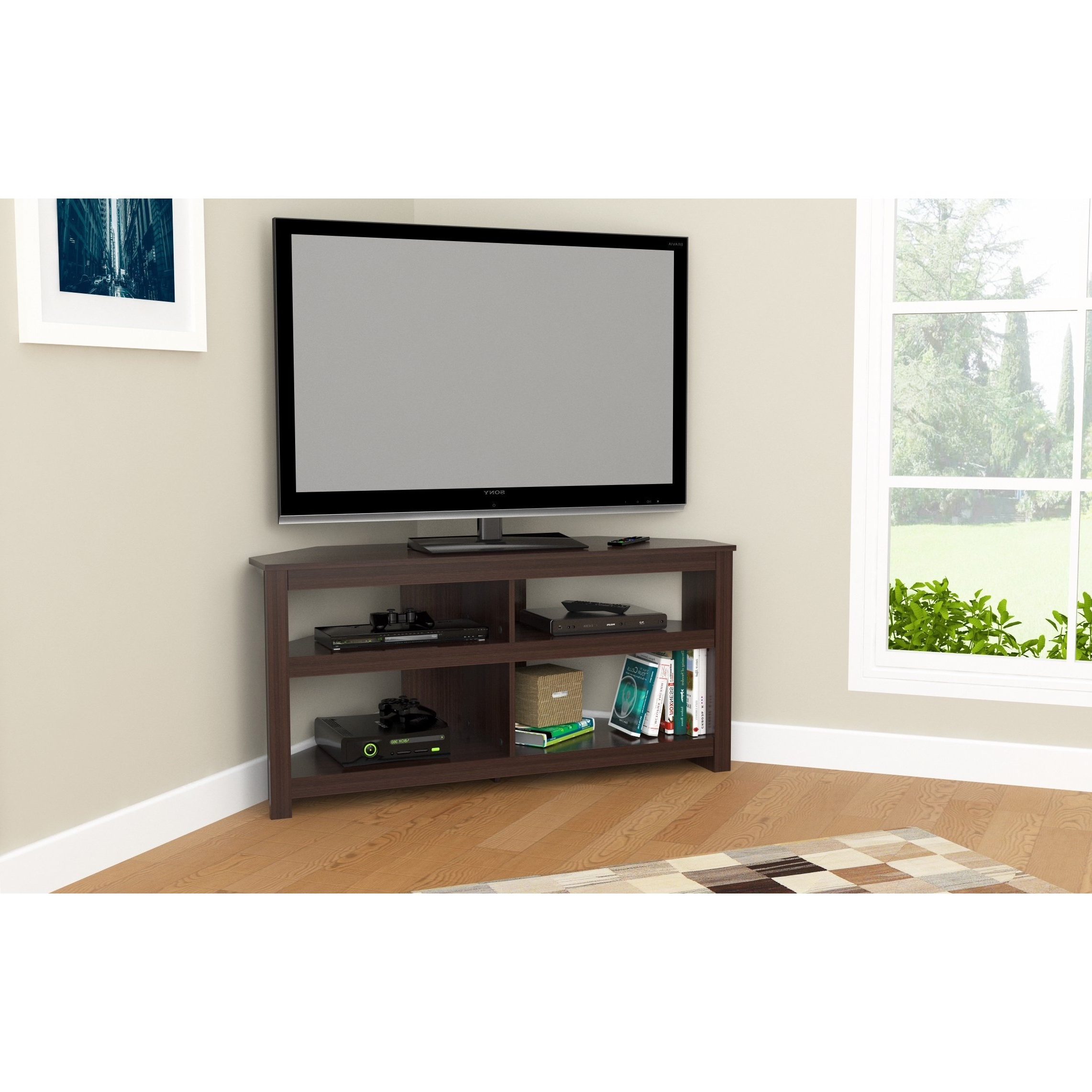 Shop Inval Contemporary Espresso Corner Tv Stand – Free Shipping With Famous Contemporary Corner Tv Stands (View 7 of 20)