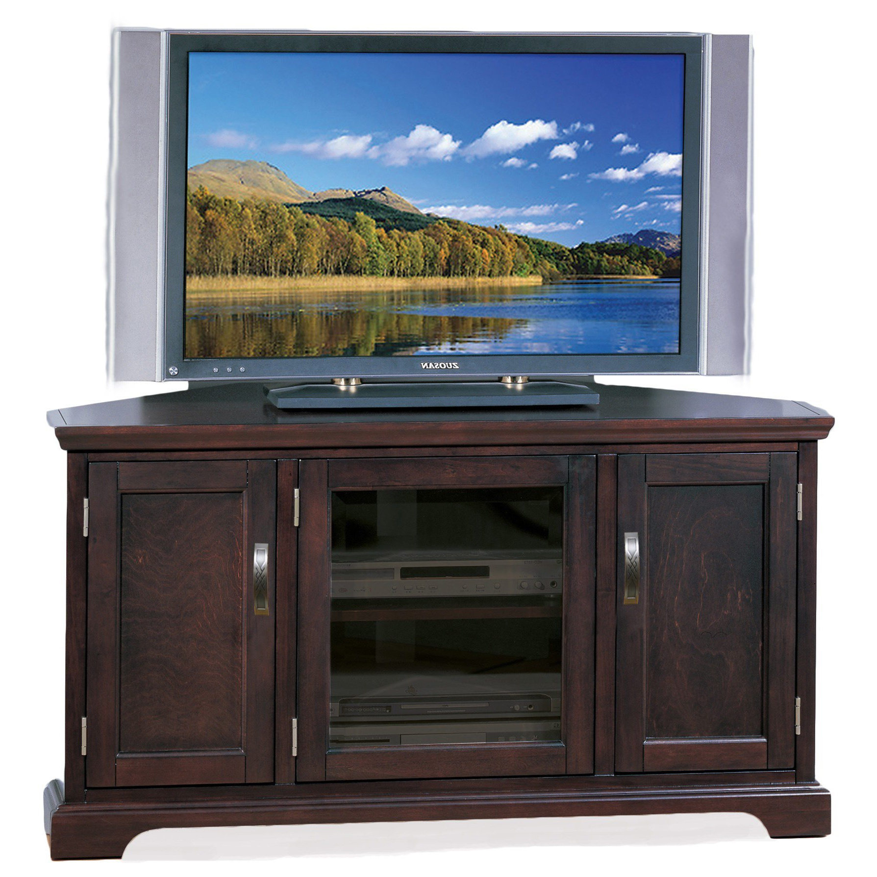 Shop Kd Furnishings Chocolate Bronze 46 Inch Corner Tv Stand & Media Intended For Well Liked Corner Tv Stands For 46 Inch Flat Screen (Gallery 12 of 20)