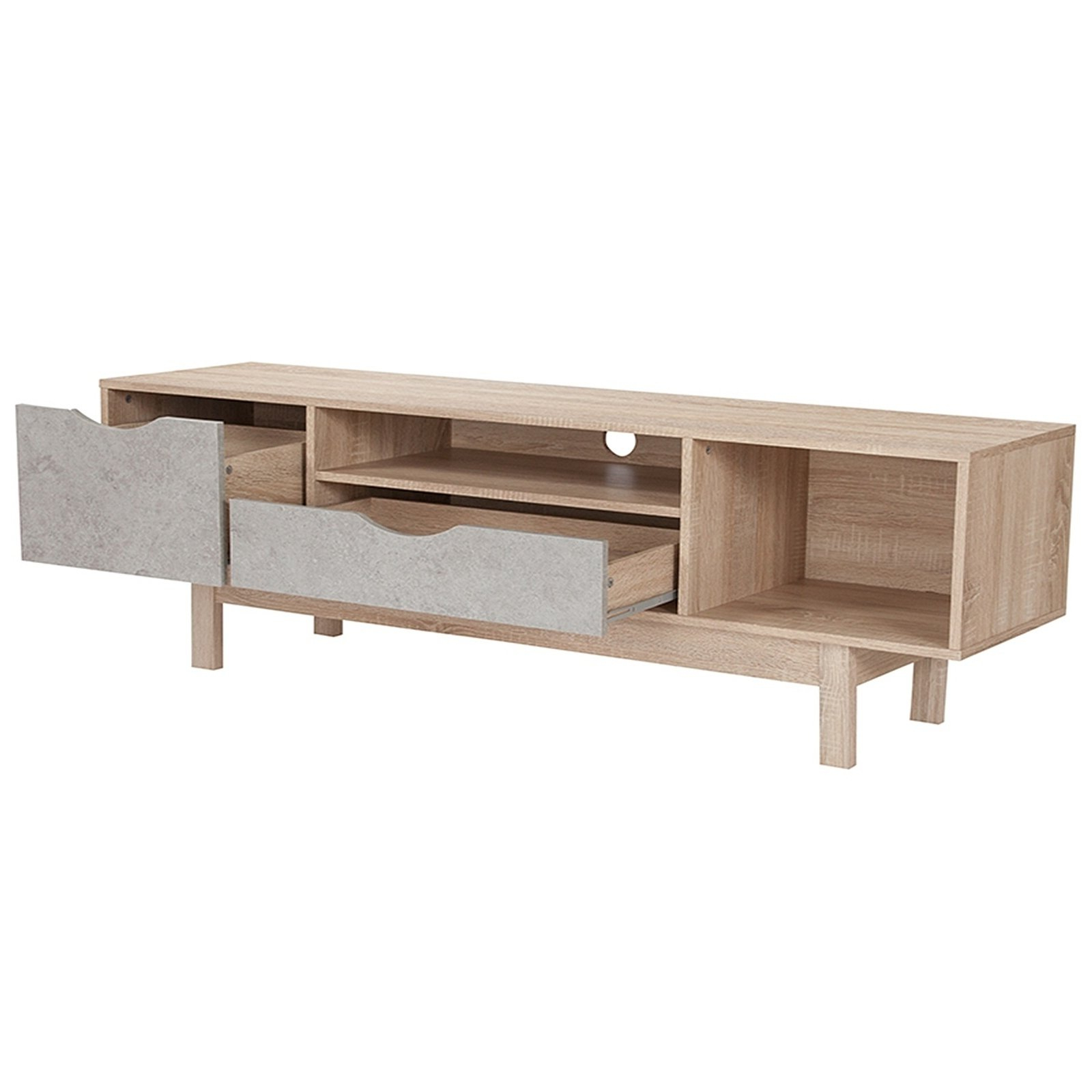 Shop Norwalk 2 Drawer Tv Stand With Open Shelves In Oak Wood Finish Inside 2017 Santana Oak Tv Furniture (View 18 of 20)