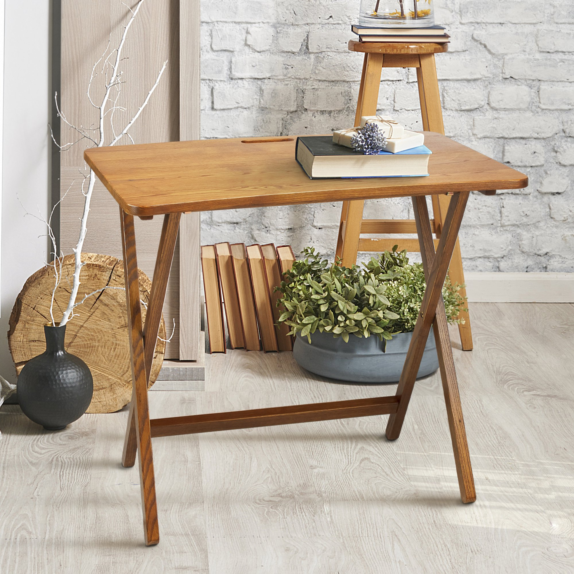Shop Pine Canopy Goosefoot Red Oak Folding Tv Tray Table – Free Within Most Current Folding Wooden Tv Tray Tables (View 18 of 20)