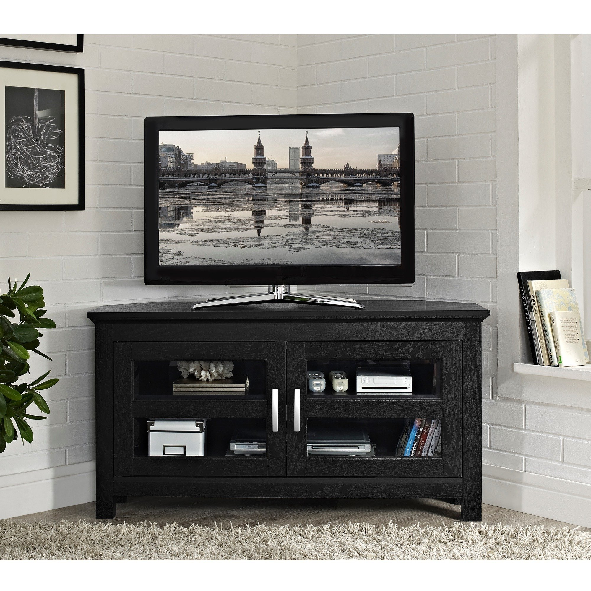 Shop Porch & Den Hardy Black Wood 44 Inch Corner Tv Stand – Free In Preferred Black Corner Tv Cabinets (View 18 of 20)