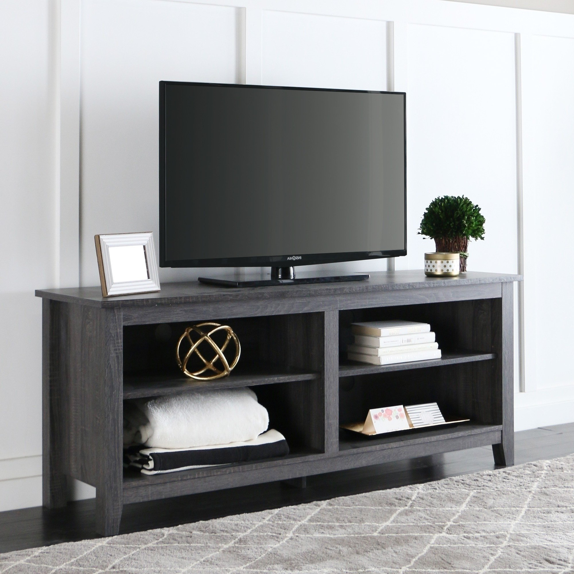 Shop Porch & Den Harmony 58 Inch Wood Charcoal Grey Tv Stand – On Within Most Recently Released 24 Inch Wide Tv Stands (View 16 of 20)