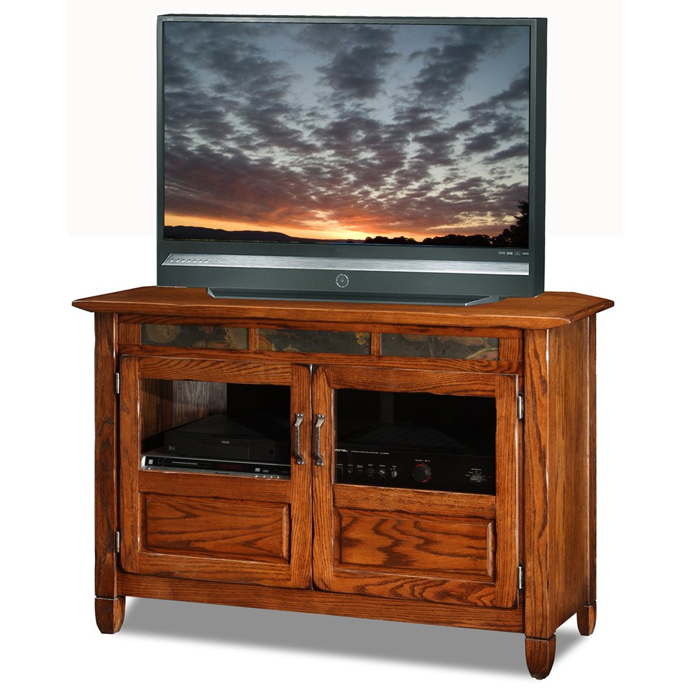 Shop Rustic Oak/slate 46 Inch Tv Stand & Media Console – Free In Famous Orange Tv Stands (Gallery 7 of 20)