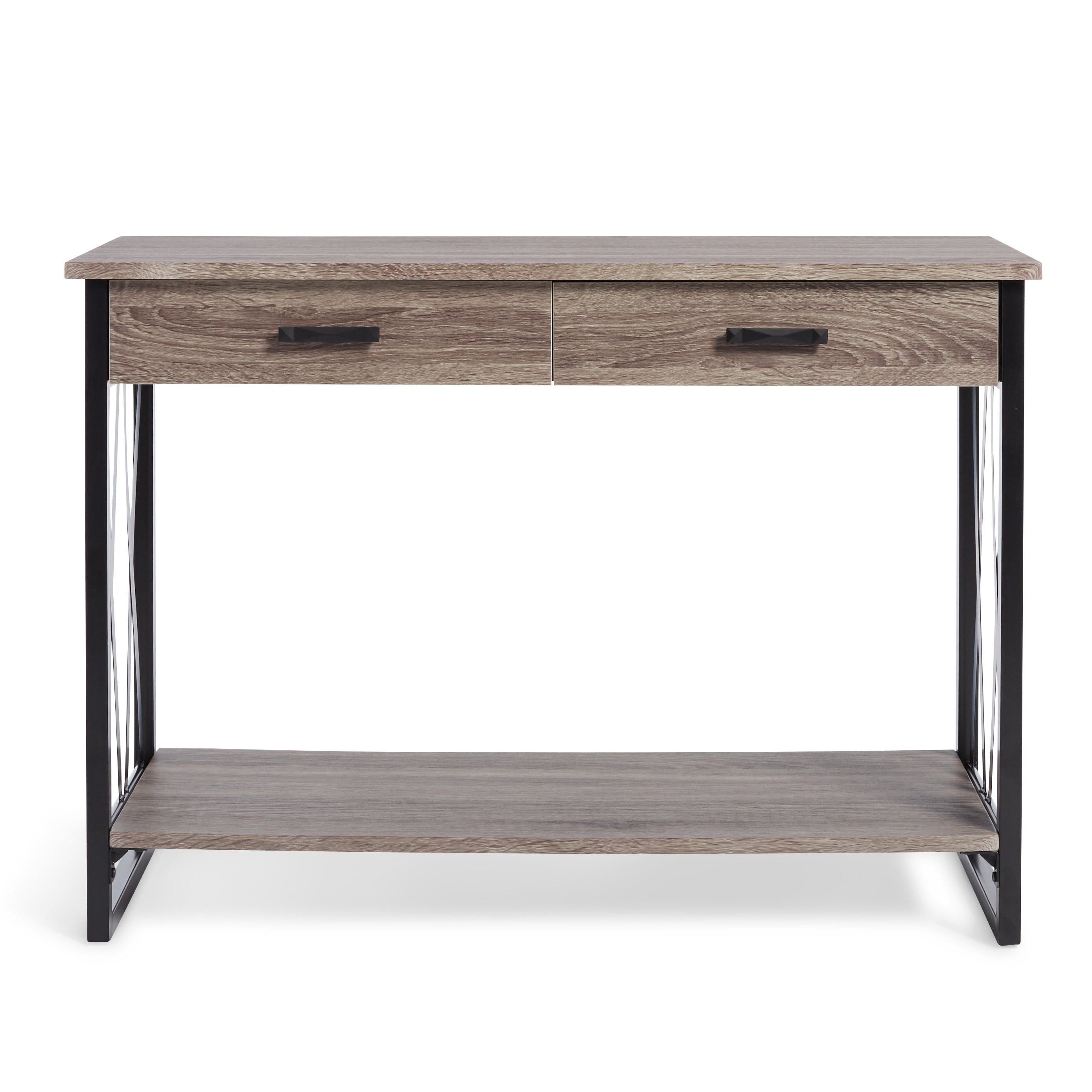 Shop Seneca Reclaimed Finish Sofa Table – Free Shipping Today For Well Known Mix Leather Imprint Metal Frame Console Tables (Gallery 8 of 20)