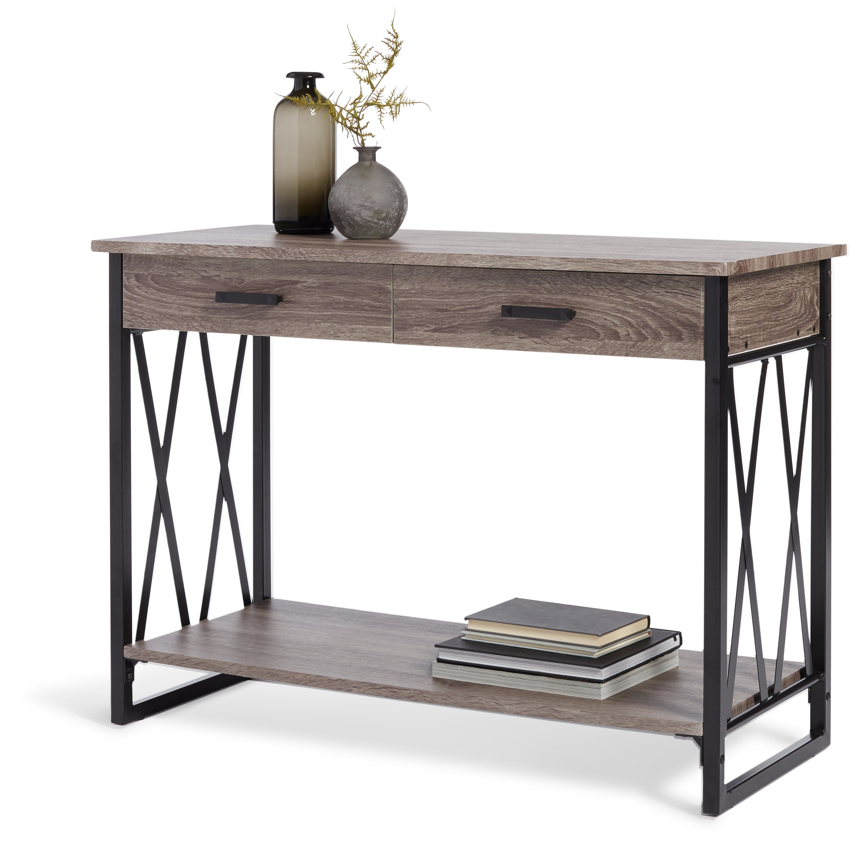 Shop Seneca Reclaimed Finish Sofa Table – Free Shipping Today Within Most Recently Released Mix Leather Imprint Metal Frame Console Tables (Gallery 4 of 20)