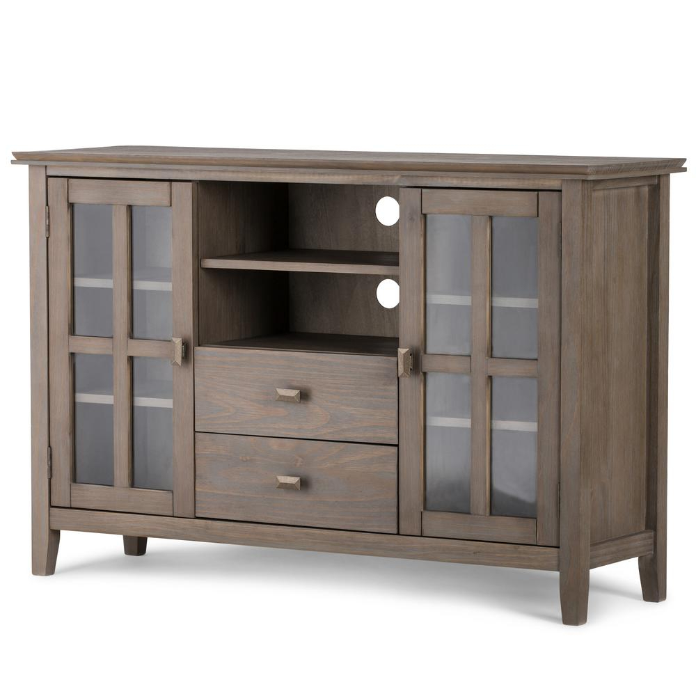Sideboard Tv Stands With Regard To Most Up To Date Simpli Home Artisan Distressed Grey 53 In. Tall Tv Media Stand (Gallery 9 of 20)