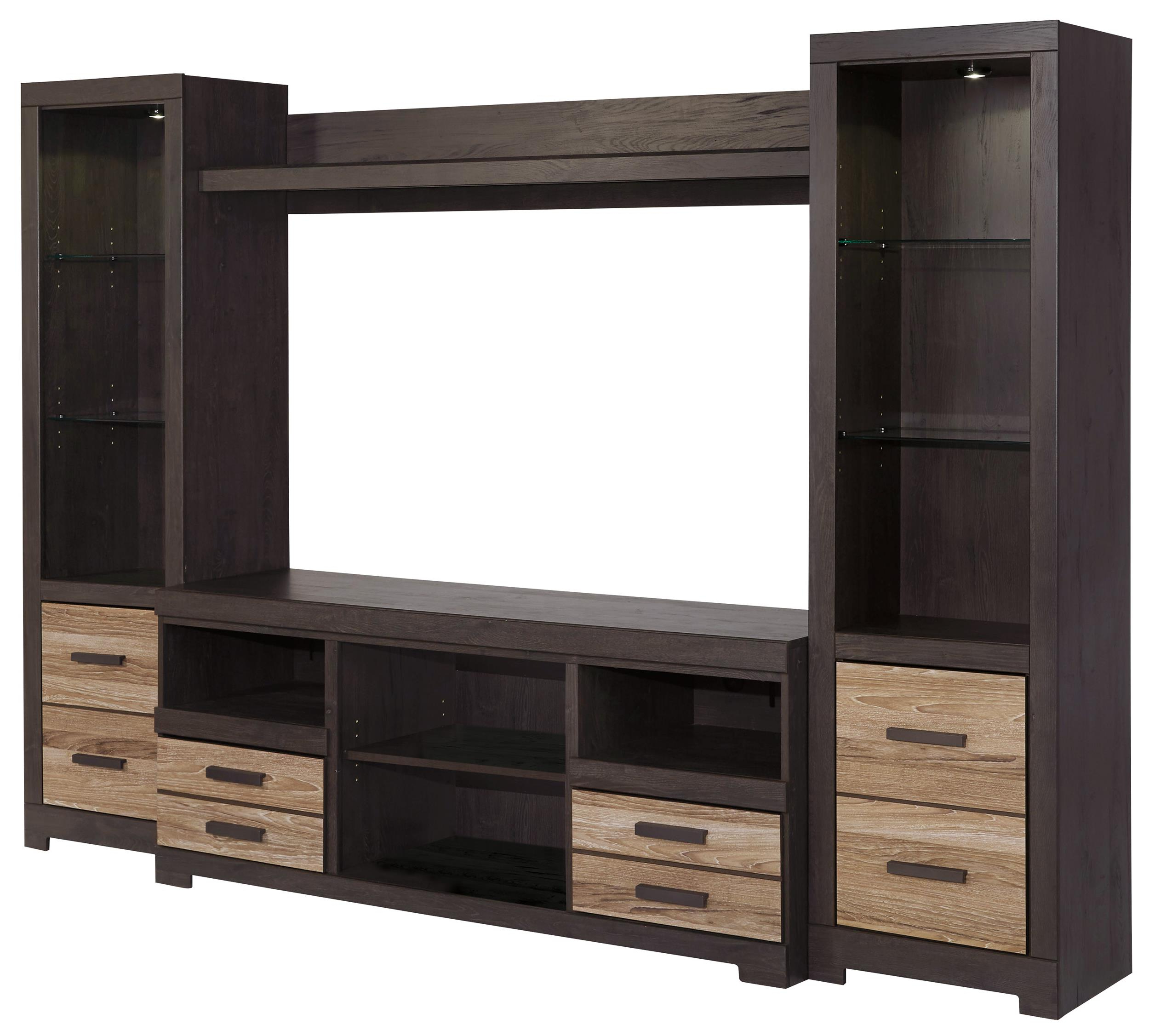 Signature Designashley Harlinton Large Tv Stand & 2 Tall Piers Within Well Known Entertainment Center Tv Stands (View 18 of 20)