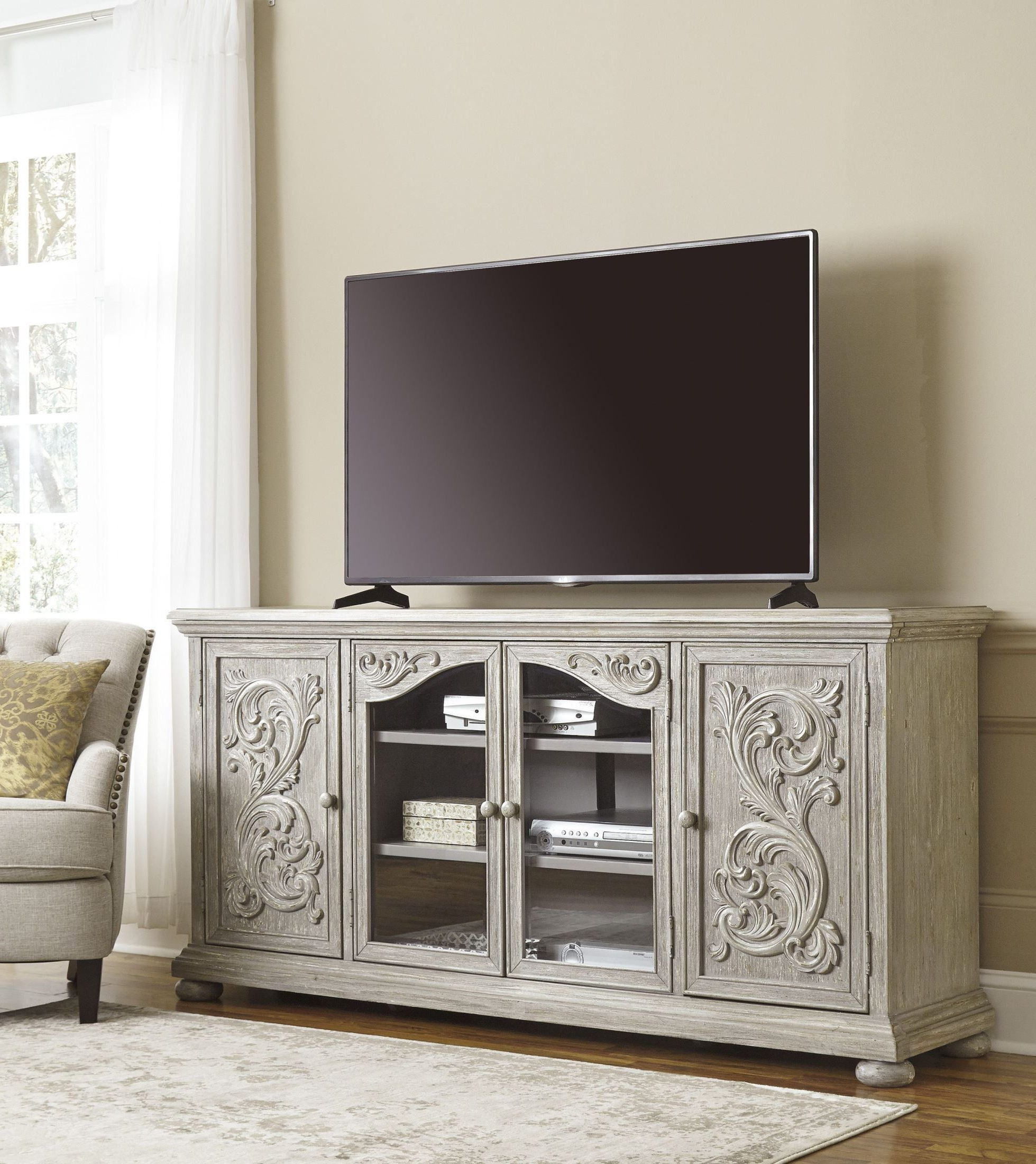 Signature Designashley Marleny Gray Extra Large Tv Stand Intended For Popular Vista 68 Inch Tv Stands (Gallery 14 of 20)