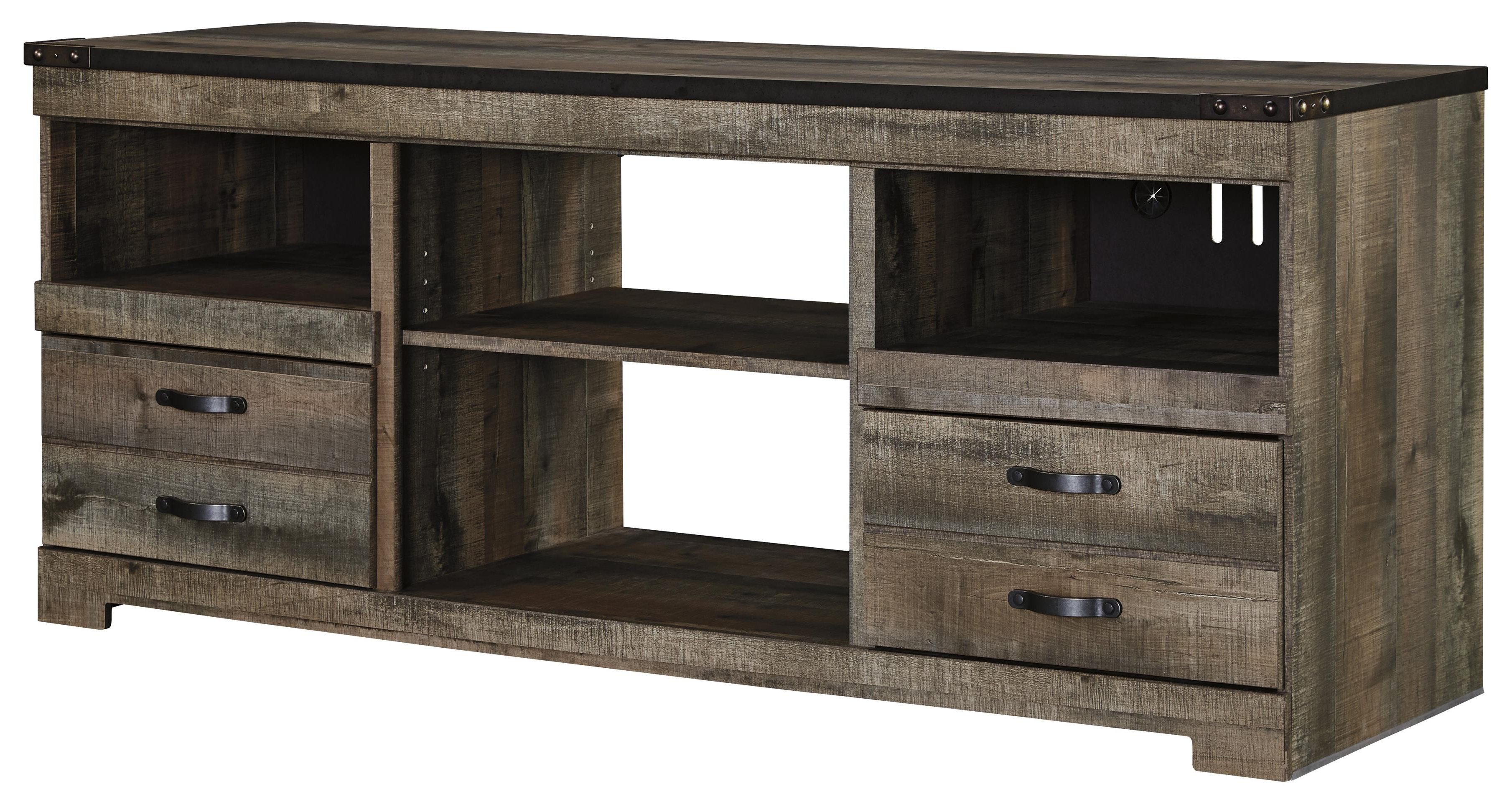 Signature Designashley Trinell Rustic Large Tv Stand With Metal Regarding Famous Rustic Tv Stands (Gallery 7 of 20)