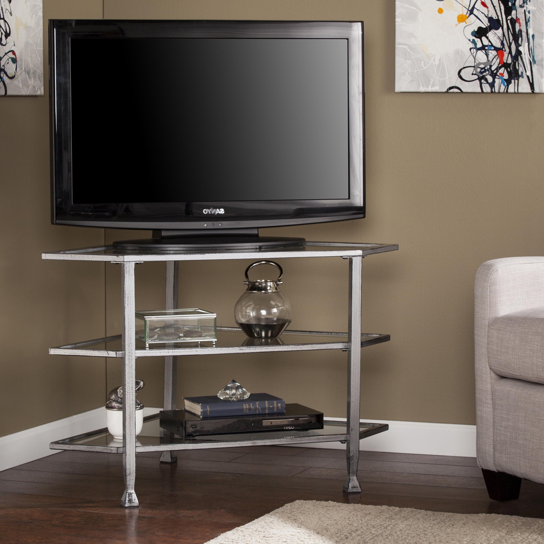 Silver Corner Tv Stands Regarding Most Popular Shop Harper Blvd Jensen Metal/glass Corner Tv Stand – Distressed (View 13 of 20)